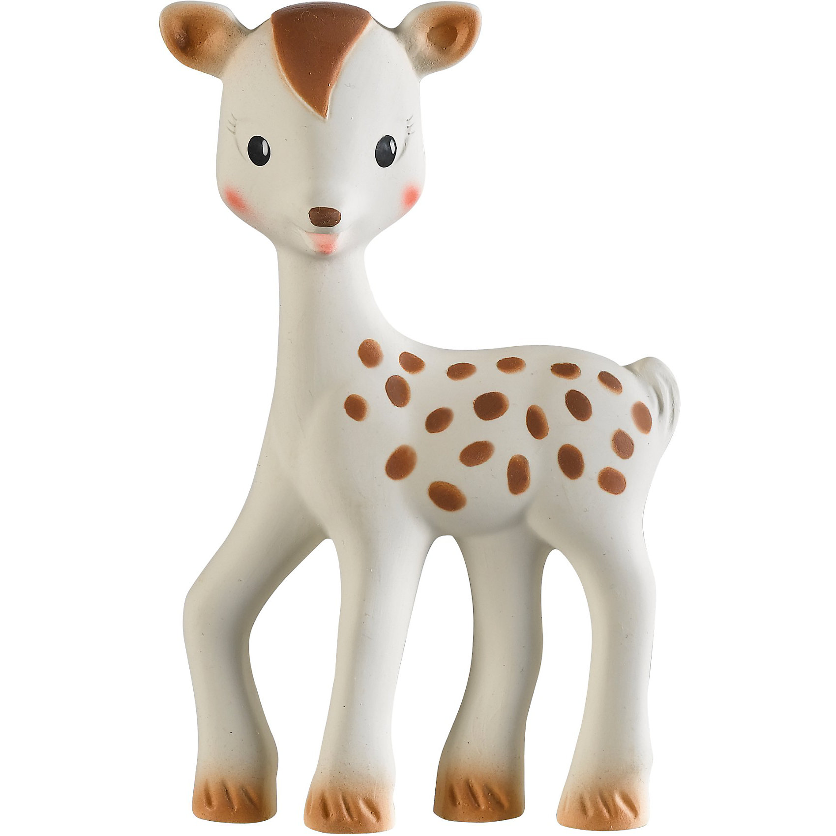 Олененок Фанфан, VulliПрорезыватели<br>Это уникальная развивающая игрушка от производителя каучуковых игрушек №1 в мире, компании VULLI. Благодаря участию в разработке игрушки ведущих французских педиатров, она не только поможет малышу снять зуд с воспаленных десен, но и будет способствовать развитию 5 органов чувств ребенка. <br>Осязание: мягкая поверхность специально разработана для стимулирования осязания. Прикасаясь к игрушке, малыш чувствует материал особой текстуры, который на подсознательном уровне напоминает ему нежную мамину кожу и успокаивает малыша, развивает тактильные ощущения. Стимулирование осязания крайне важно для ребенка – оно является основой для развития речи и способности выражать мысли в более позднем возрасте.<br>Зрение: контрастные цветные элементы на теле олененка научат малыша различать цвета, фокусировать зрение на мелких объектах разных форм и разовьют внимание, что поможет малышу успешнее познавать окружающий мир в дальнейшем. <br>Слух: при нажатии на игрушку, малыш услышит писк и будет учиться понимать причинно-следственную связь между действием (нажатием) и звуком.<br>Моторика и координация: форма, плотность, выступающие части – были специально разработаны для массажа ладошек малыша. Играя с олененком Фанфаном, малыш будет стимулировать развитие нервных окончаний на кончиках пальцев и ладошках, научится хватать и сжимать окружающие предметы – разовьет хватательный рефлекс.<br>Обоняние: натуральный аромат каучука стимулирует органы обоняния – малыш научится отличать Фанфана от других игрушек. <br>Смягчает боль в деснах в период прорезывания зубов: нежная текстура  делает Фанфана идеальной игрушкой для смягчения боли в деснах. Ушки и ножки имеют особую форму –малыш полюбит их жевать растущими зубами. Благодаря рельефным частям игрушки, малыш сможет утолить естественный сосательный рефлекс .<br>Игрушка абсолютно безопасна для ребенка: при производстве используется только пищевая краска  и 100% натуральный каучук (сок дерева Гевеи).<br><br