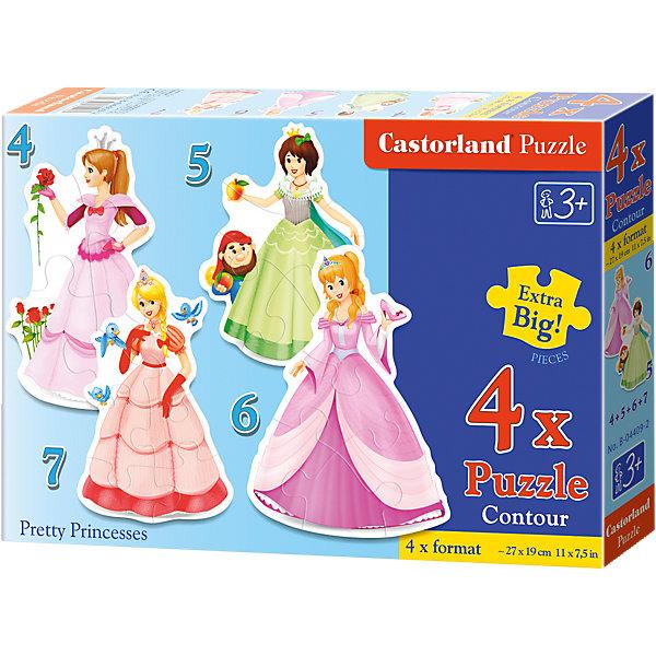 Пазлы Принцессы, 4*5*6*7 деталей, CastorlandПазлы для малышей<br>Пазлы Принцессы, 4*5*6*7 деталей, Castorland (Касторленд) - это увлекательный набор для первого знакомства вашей малышки с пазлами.<br>Пазлы Принцессы – это контурные пазлы для самых маленьких, состоящие из четырех отдельных картинок разной степени сложности. В наборе пазлы с изображением прекрасных принцесс. Собирая пазлы, малышка сможет не только увлекательно провести время, но и развить образное и логическое мышление, наблюдательность, мелкую моторику и координацию движений рук. Пазлы выполнены из плотного картона, детали красочные и крупные, легко собираются.<br><br>Дополнительная информация:<br><br>- В наборе: 4 пазла, каждый пазл состоит из разного количества деталей<br>- Количество деталей: 4, 5, 6, 7<br>- Размер картинок: 29 ? 20 см.<br>- Материал: плотный картон<br>- Упаковка: картонная коробка<br>- Размер коробки: 24,5 х 3,7 х 17,5 см.<br>- Вес: 150 гр.<br><br>Пазлы Принцессы, 4*5*6*7 деталей, Castorland (Касторленд) можно купить в нашем интернет-магазине.<br>Ширина мм: 328; Глубина мм: 231; Высота мм: 58; Вес г: 444; Возраст от месяцев: 36; Возраст до месяцев: 60; Пол: Женский; Возраст: Детский; Количество деталей: 4; SKU: 3899106;