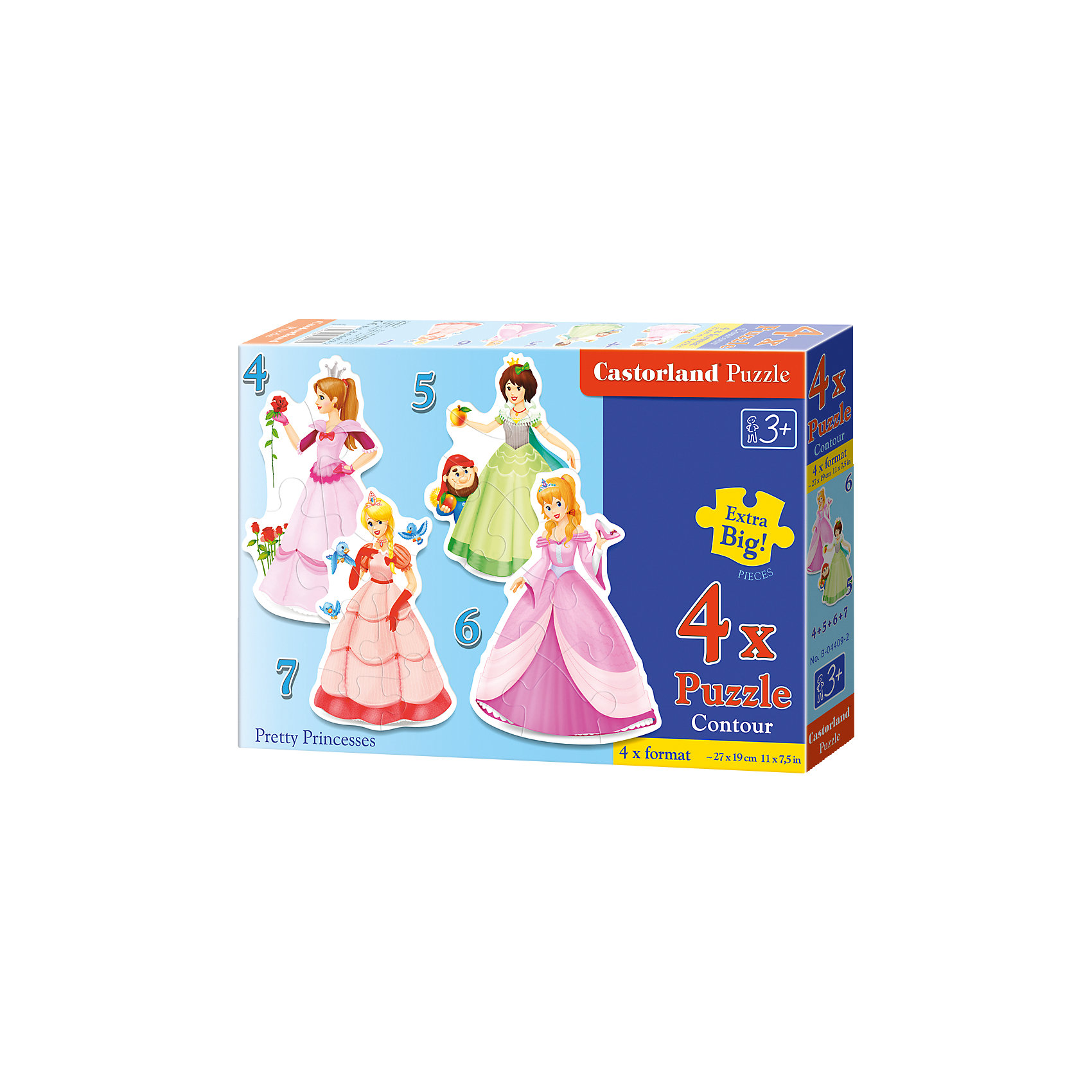 Пазлы Принцессы, 4*5*6*7 деталей, CastorlandПазлы Принцессы, 4*5*6*7 деталей, Castorland (Касторленд) - это увлекательный набор для первого знакомства вашей малышки с пазлами.<br>Пазлы Принцессы – это контурные пазлы для самых маленьких, состоящие из четырех отдельных картинок разной степени сложности. В наборе пазлы с изображением прекрасных принцесс. Собирая пазлы, малышка сможет не только увлекательно провести время, но и развить образное и логическое мышление, наблюдательность, мелкую моторику и координацию движений рук. Пазлы выполнены из плотного картона, детали красочные и крупные, легко собираются.<br><br>Дополнительная информация:<br><br>- В наборе: 4 пазла, каждый пазл состоит из разного количества деталей<br>- Количество деталей: 4, 5, 6, 7<br>- Размер картинок: 29 ? 20 см.<br>- Материал: плотный картон<br>- Упаковка: картонная коробка<br>- Размер коробки: 24,5 х 3,7 х 17,5 см.<br>- Вес: 150 гр.<br><br>Пазлы Принцессы, 4*5*6*7 деталей, Castorland (Касторленд) можно купить в нашем интернет-магазине.<br><br>Ширина мм: 328<br>Глубина мм: 231<br>Высота мм: 58<br>Вес г: 444<br>Возраст от месяцев: 36<br>Возраст до месяцев: 60<br>Пол: Женский<br>Возраст: Детский<br>Количество деталей: 4<br>SKU: 3899106