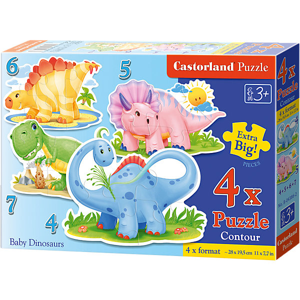 Пазлы Динозаврики, 4*5*6*7 деталей, CastorlandПазлы для малышей<br>Пазлы Динозаврики, 4*5*6*7 деталей, Castorland (Касторленд) - это увлекательный набор для первого знакомства вашего малыша с пазлами.<br>Пазлы Динозаврики – это контурные пазлы для самых маленьких, состоящие из четырех отдельных картинок разной степени сложности. В наборе пазлы с изображением милых маленьких динозавриков. Собирая пазлы, малыш сможет не только увлекательно провести время, но и развить образное и логическое мышление, наблюдательность, мелкую моторику и координацию движений рук. Пазлы выполнены из плотного картона, детали красочные и крупные, легко собираются.<br><br>Дополнительная информация:<br><br>- В наборе: 4 пазла, каждый пазл состоит из разного количества деталей<br>- Количество деталей: 4, 5, 6, 7<br>- Размер картинок: 29 ? 20 см.<br>- Материал: плотный картон<br>- Упаковка: картонная коробка<br>- Размер коробки: 24,5 х 3,7 х 17,5 см.<br>- Вес: 150 гр.<br><br>Пазлы Динозаврики, 4*5*6*7 деталей, Castorland (Касторленд) можно купить в нашем интернет-магазине.<br><br>Ширина мм: 329<br>Глубина мм: 225<br>Высота мм: 56<br>Вес г: 439<br>Возраст от месяцев: 36<br>Возраст до месяцев: 48<br>Пол: Мужской<br>Возраст: Детский<br>Количество деталей: 4<br>SKU: 3899107