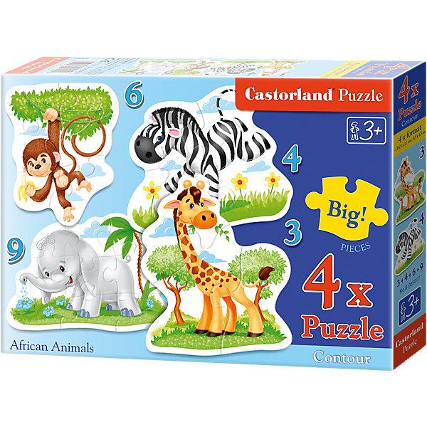 Пазл 4 в 1 Castorland Африканские животные, 3*4*6*9 деталейПазлы для малышей<br>Пазлы Африканские животные, 3*4*6*9 деталей, Castorland (Касторленд) - увлекательный набор для первого знакомства вашего малыша с пазлами.<br>Пазлы Африканские животные – это контурные пазлы для самых маленьких, состоящие из четырех отдельных картинок разной степени сложности. В наборе пазлы с изображением слоненка, обезьянки, зебры и жирафа. Собирая пазлы, малыш сможет не только увлекательно провести время, но и развить образное и логическое мышление, наблюдательность, мелкую моторику и координацию движений рук. Пазлы выполнены из плотного картона, детали красочные и крупные, легко собираются.<br><br>Дополнительная информация:<br><br>- Каждый пазл состоит из разного количества деталей: слоненок – 9 деталей, обезьянка – 6 деталей, зебра – 4 детали, жираф – 3 детали<br>- Размер картинок: 16.5 ? 11 см.<br>- Материал: плотный картон<br>- Упаковка: картонная коробка<br>- Размер коробки: 17,5 х 3,7 х 13 см.<br>- Вес: 110 гр.<br><br>Пазлы Африканские животные, 3*4*6*9 деталей, Castorland (Касторленд) можно купить в нашем интернет-магазине.<br>Ширина мм: 252; Глубина мм: 187; Высота мм: 43; Вес г: 142; Возраст от месяцев: 36; Возраст до месяцев: 2147483647; Пол: Унисекс; Возраст: Детский; Количество деталей: 3; SKU: 3899117;