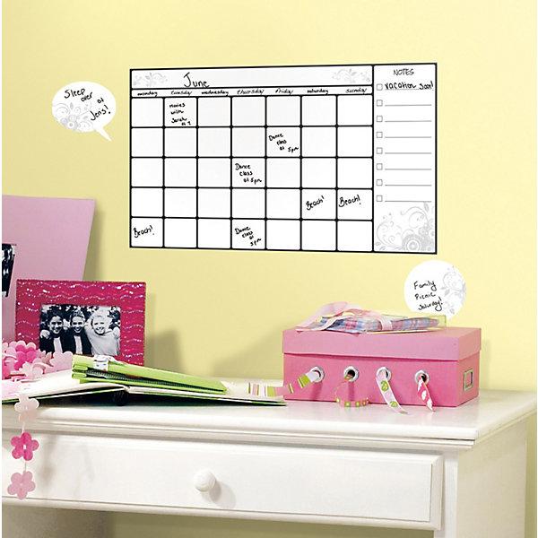 Наклейки для декора Календарь для заметок (стирающиеся записи)Детские предметы интерьера<br>Наклейки для декора Календарь для заметок стирающийся от знаменитого производителя RoomMates станут украшением детской комнаты! Наклейка, входящая в набор, содержит изображение сетки календаря и поля для заметок. Ваш ребенок сможет оставлять пометки маркером на этой наклейке, как на белой доске - и они будут легко стираться! Наклейки не нужно вырезать - их следует просто отсоединить от защитного слоя и поместить на стену или любую другую плоскую гладкую поверхность. Наклейки многоразовые: их легко переклеивать и снимать со стены, они не оставляют липких следов на поверхности.<br>Ширина мм: 266; Глубина мм: 123; Высота мм: 28; Вес г: 120; Цвет: белый; Возраст от месяцев: 48; Возраст до месяцев: 1164; Пол: Унисекс; Возраст: Детский; SKU: 3901205;