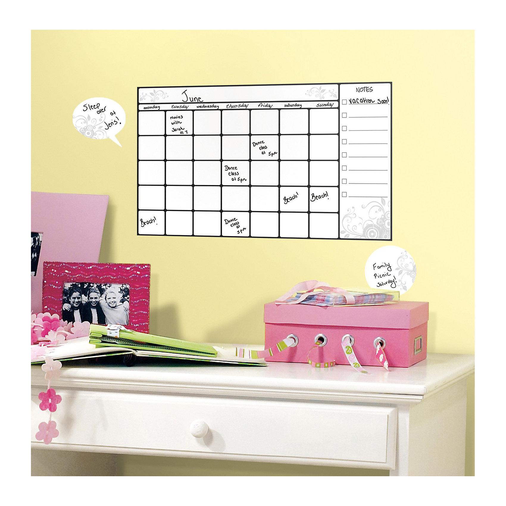 Наклейки для декора Календарь для заметок (стирающиеся записи)Предметы интерьера<br>Наклейки для декора Календарь для заметок стирающийся от знаменитого производителя RoomMates станут украшением детской комнаты! Наклейка, входящая в набор, содержит изображение сетки календаря и поля для заметок. Ваш ребенок сможет оставлять пометки маркером на этой наклейке, как на белой доске - и они будут легко стираться! Наклейки не нужно вырезать - их следует просто отсоединить от защитного слоя и поместить на стену или любую другую плоскую гладкую поверхность. Наклейки многоразовые: их легко переклеивать и снимать со стены, они не оставляют липких следов на поверхности.<br><br>Ширина мм: 266<br>Глубина мм: 123<br>Высота мм: 28<br>Вес г: 120<br>Цвет: белый<br>Возраст от месяцев: 48<br>Возраст до месяцев: 1164<br>Пол: Унисекс<br>Возраст: Детский<br>SKU: 3901205