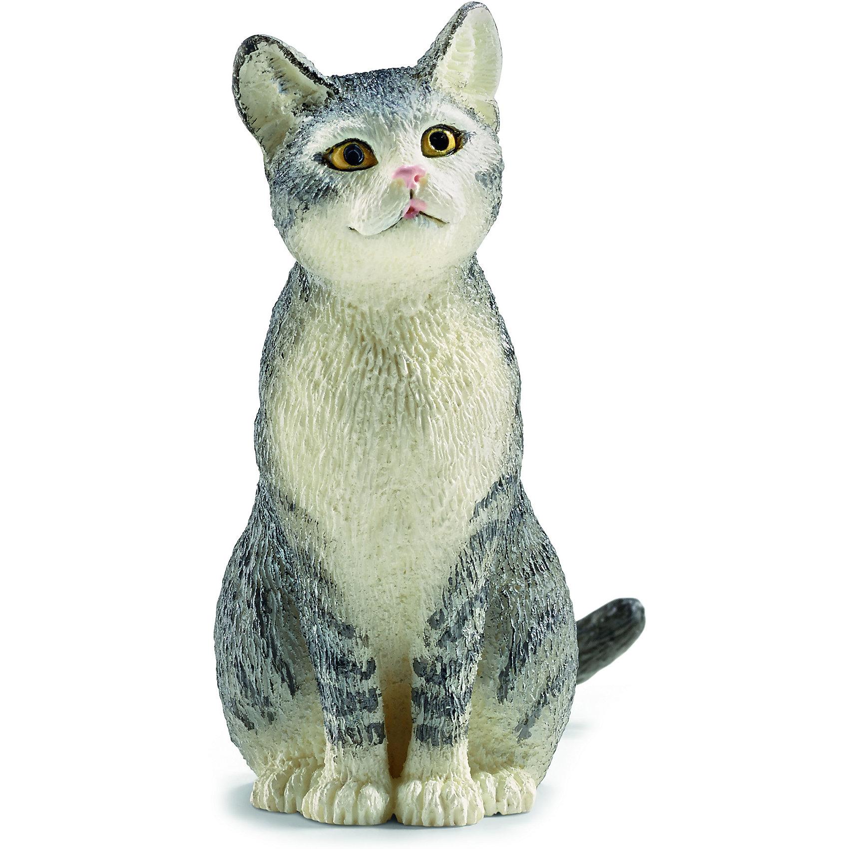 Кошка, SchleichМир животных<br>Кошка, Schleich (Шляйх) – это высококачественная коллекционная и игровая фигурка.<br>Очаровательная фигурка кошки прекрасно разнообразит игру вашего ребенка и станет отличным пополнением коллекции его фигурок домашних животных. Кошка – излюбленное и самое распространенное на земле животное, живущее в непосредственной близости к человеку. Не стоит забывать и об удивительной нежности и ласке, которую способны проявлять кошки. Ни один дом, ни одна ферма или хозяйство не обойдутся без этого животного, вносящего уют и покой в жилище человека. Игрушка выполнена в виде милой кошечки, которая сидит на задних лапках. Основной цвет игрушки – серый. Животик и лапки у кошки – белые. У нее яркие горящие глазки и приподнятая вверх мордочка. <br>Прекрасно выполненные фигурки Schleich (Шляйх) являются максимально точной копией настоящих животных и отличаются высочайшим качеством игрушек ручной работы. Каждая фигурка разработана с учетом исследований в области педагогики и производится как настоящее произведение для маленьких детских ручек. Все фигурки Schleich (Шляйх) сделаны из гипоаллергенных высокотехнологичных материалов, раскрашены вручную и не вызывают аллергии у ребенка.<br><br>Дополнительная информация:<br><br>- Размер фигурки: 4,5 x 2,5 x 3,8 см.<br>- Материал: высококачественный каучуковый пластик<br><br>Фигурку Кошки, Schleich (Шляйх) можно купить в нашем интернет-магазине.<br><br>Ширина мм: 57<br>Глубина мм: 43<br>Высота мм: 22<br>Вес г: 14<br>Возраст от месяцев: 36<br>Возраст до месяцев: 96<br>Пол: Унисекс<br>Возраст: Детский<br>SKU: 3902496
