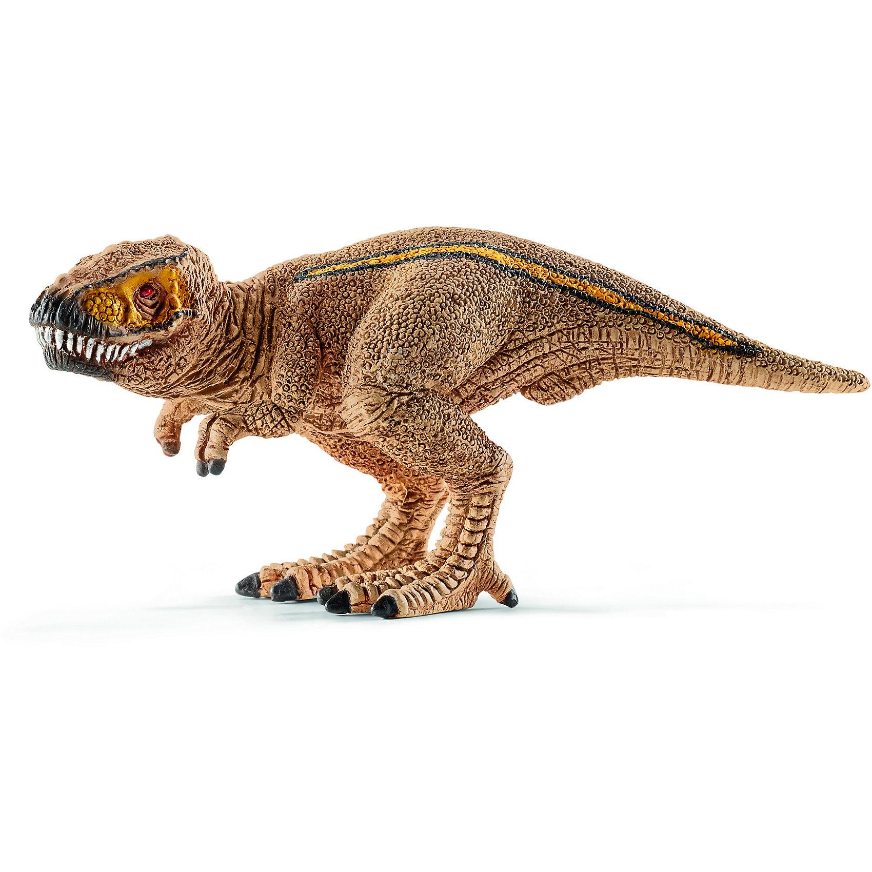 Тиранозавр Рекс, мини, SchleichДревний динозавр Тираннозавр Рекс, проживающий на земле много миллионов лет назад, представлен немецкой компанией Schleich (Шляйх) в виде стоящего на задних лапах динозавра светло-коричневого цвета. Тиранозаурус отличается от своих сородичей длинным хвостом и мощными лапами, которые помогают ему находить пищу и сражаться с врагами.<br><br>Игрушка динозавра выполнена из качественного каучукового пластика, который безопасен для детей и не вызывает аллергию. У динозавра подвижные когти и нижняя челюсть, что сделает игру более увлекательной и оживленной.<br><br>Дополнительная информация:<br><br>Материал: каучуковый пластик<br>Размер игрушки: 7.8 x 3.4 x 3.2 см.<br><br>Тираннозавра Рекс, мини, Schleich (Шляйх) можно купить в нашем магазине.<br><br>Ширина мм: 55<br>Глубина мм: 65<br>Высота мм: 2<br>Вес г: 14<br>Возраст от месяцев: 36<br>Возраст до месяцев: 96<br>Пол: Мужской<br>Возраст: Детский<br>SKU: 3902515