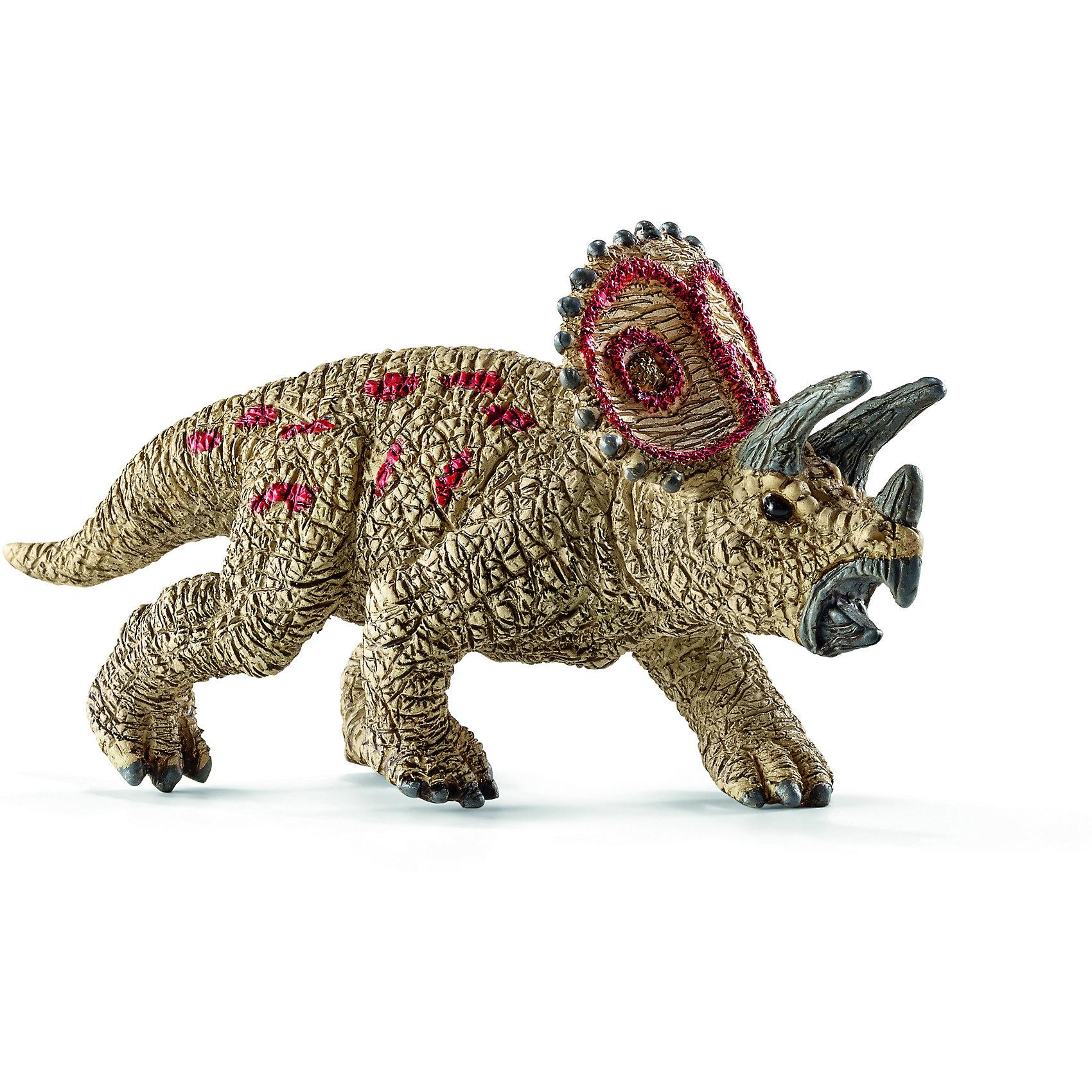 Трицераптор, мини, SchleichДревний динозавр Трицераптор, проживающий на земле много миллионов лет назад, представлен немецкой компанией Schleich (Шляйх) в виде идущего на четырех лапах динозавра коричневого цвета. <br><br>Трицераптор - травоядное животное. Его челюсть представляет собой своеобразный клюв, который удобно использовать для разделения растительной пищи.<br><br>Игрушка динозавра выполнена из качественного каучукового пластика, который безопасен для детей и не вызывает аллергию.<br><br>Дополнительная информация:<br><br>Материал: каучуковый пластик<br>Размеры: 6.6 x 3.4 x 2.2 см.<br><br>Трицераптора, мини, Schleich (Шляйх) можно купить в нашем магазине.<br><br>Ширина мм: 63<br>Глубина мм: 37<br>Высота мм: 11<br>Вес г: 9<br>Возраст от месяцев: 36<br>Возраст до месяцев: 96<br>Пол: Мужской<br>Возраст: Детский<br>SKU: 3902517