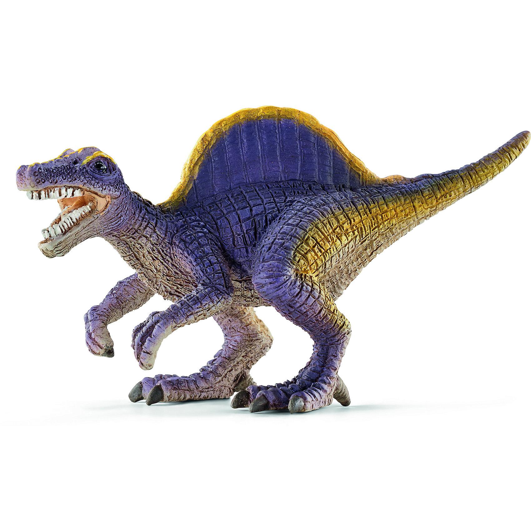 Спинозавр, мини, SchleichДревнее животное Спинозавр, проживающее на земле много миллионов лет назад, представлен немецкой компанией Schleich (Шляйх) в виде фигурки динозавра фиолетового цвета, идущего на двух задних лапах. <br><br>Спинозавр обладал головой, похожей на голову крокодила. Эти динозавры питались рыбой и падалью. Игрушка выполнена в светло-фиолетовой гамме, с желтым декором.<br><br>Игрушка динозавра выполнена из качественного каучукового пластика, который безопасен для детей и не вызывает аллергию.<br><br>Прекрасно выполненные фигурки Шляйх отличаются высочайшим качеством игрушек ручной работы. Все они создаются при постоянном сотрудничестве с Берлинским зоопарком, а потому, являются максимально точной копией настоящих животных. Каждая фигурка разработана с учетом исследований в области педагогики и производится как настоящее произведение для маленьких детских ручек. <br><br>Спинозавр станет достойным пополнением красочной коллекции игрушек Шляйх, которые восхищают детей и взрослых во всем мире.<br><br>Дополнительная информация:<br><br>Материал: каучуковый пластик<br>Размеры: 7,8 x 3,6 x 4,3 см<br><br>Спинозавра, мини, Schleich (Шляйх) можно купить в нашем магазине.<br><br>Ширина мм: 56<br>Глубина мм: 32<br>Высота мм: 31<br>Вес г: 15<br>Возраст от месяцев: 36<br>Возраст до месяцев: 96<br>Пол: Мужской<br>Возраст: Детский<br>SKU: 3902521