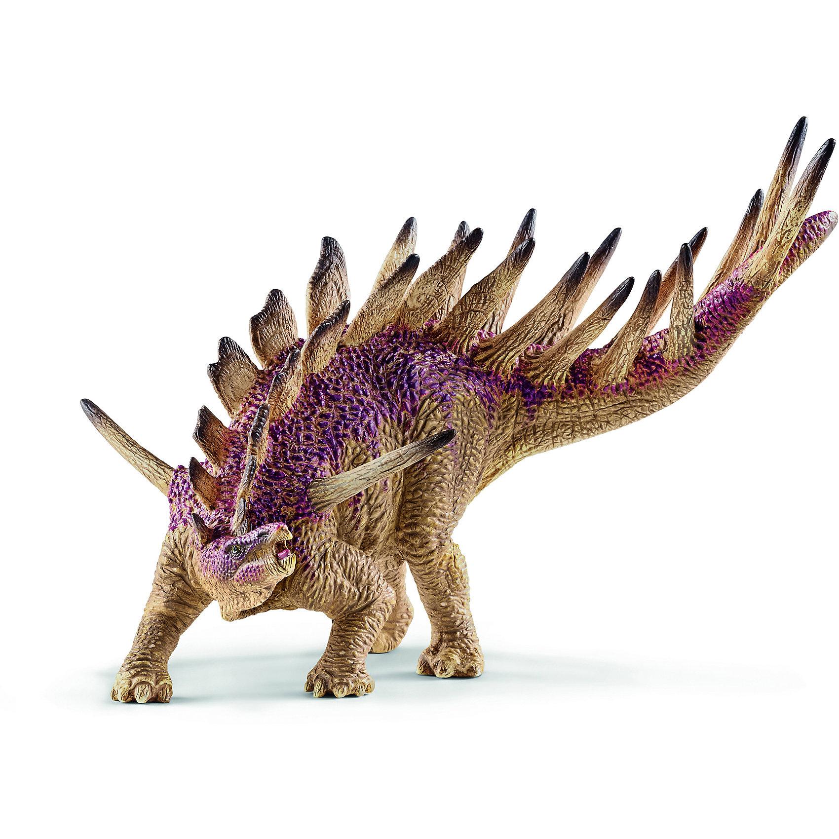 Кентрозавр, SchleichДраконы и динозавры<br>Кентрозавр, Schleich (Шляйх) – это высококачественная коллекционная и игровая фигурка.<br>Фигурка Кентрозавра прекрасно разнообразит игру вашего ребенка и станет отличным пополнением коллекции его фигурок доисторических животных. Кентрозавры — род позднеюрских травоядных динозавров, живший на Земле 155,7—150,8 млн лет назад. Кентрозавры передвигались на четырёх конечностях, но, вероятно, могли вставать на задние лапы, дотягиваясь за пищей до высоких веток. Длина выставленного в берлинском Музее естественной истории им. Гумбольдта экземпляра 4,5 м, высота 1,5 м, но отдельные найденные кости, позволяют предполагать, что кентрозавры могли достигать 5,5 м. Хвост, состоящий из 40 позвонков, составляет чуть больше половины длины тела. Вдоль всего тела от головы до кончика хвоста тянулись два ряда костных образований, которые служили защитой от хищников. На шее и передней части туловища шли плоские и широкие пластины, далее до конца хвоста, все более длинные копьеобразные шипы. Гибкий хвост, в сочетании с расположенными на нём шипами, вероятно, представлял грозное оружие обороны. На плечах животного находилась дополнительная пара торчащих в стороны длинных шипов. Прекрасно выполненная фигурка от Schleich (Шляйх) является максимально точной копией кентрозавра. Фигурки Schleich (Шляйх) отличаются высочайшим качеством игрушек ручной работы. Каждая фигурка разработана с учетом исследований в области педагогики и производится как настоящее произведение для маленьких детских ручек. Все фигурки Schleich (Шляйх) сделаны из гипоаллергенных высокотехнологичных материалов, раскрашены вручную и не вызывают аллергии у ребенка.<br><br>Дополнительная информация:<br><br>- Размер фигурки: 1,5 х 11,9 х 11,5 см.<br>- Материал: высококачественный каучуковый пластик<br><br>Фигурку Кентрозавра, Schleich (Шляйх) можно купить в нашем интернет-магазине.<br><br>Ширина мм: 139<br>Глубина мм: 55<br>Высота мм: 49<br>Вес г: 133<br>Возраст от месяцев: 36<br>Воз