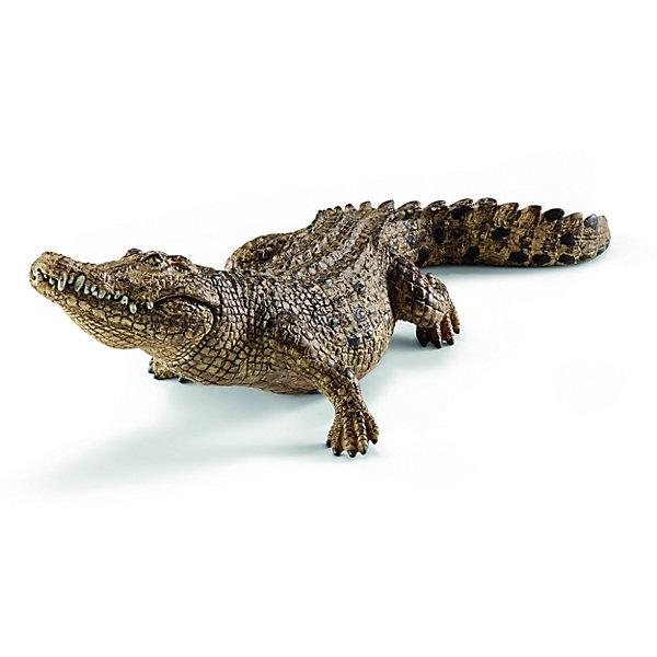 Крокодил, SchleichМир животных<br>Крокодил, Schleich (Шляйх) – это высококачественная коллекционная и игровая фигурка.<br>Фигурка Крокодила прекрасно разнообразит игру вашего ребенка и станет отличным пополнением коллекции его фигурок животных. Морской крокодил самый крупный в мире наземный, или прибрежный хищник. Самцы этого вида могут достигать 7 м длины, при весе до 2000 кг. Этот крокодил может жить в соленой воде, но, как правило, находится в мангровых болотах, дельтах, лагунах и в нижнем течении рек. Крокодил имеет длинный мускулистый хвост, короткие ноги, расположенные по бокам туловища, чешуйчатую кожу, покрытую рядами остеодерм. Глаза крокодила снабжены третьим веком для дополнительной защиты и имеют специальные железы, которые позволяют промывать их слезами, так же выводя избытки соли. Ноздри, уши и глаза расположены в верхней части головы, благодаря чему крокодил может почти полностью погружаться в воду, оставляя их на поверхности. Фигурка крокодила выполнена в бежево-зеленом цвете. Челюсть крокодила подвижна, что делает фигурку интересной для игры и максимально реалистичной. <br>Прекрасно выполненные фигурки Schleich (Шляйх) являются максимально точной копией настоящих животных и отличаются высочайшим качеством игрушек ручной работы. Каждая фигурка разработана с учетом исследований в области педагогики и производится как настоящее произведение для маленьких детских ручек. Все фигурки Schleich (Шляйх) сделаны из гипоаллергенных высокотехнологичных материалов, раскрашены вручную и не вызывают аллергии у ребенка.<br><br>Дополнительная информация:<br><br>- Размер фигурки: 6,9 x 5,1 x 18 см.<br>- Материал: высококачественный каучуковый пластик<br><br>Фигурку Крокодила, Schleich (Шляйх) можно купить в нашем интернет-магазине.<br>Ширина мм: 195; Глубина мм: 73; Высота мм: 43; Вес г: 101; Возраст от месяцев: 36; Возраст до месяцев: 96; Пол: Унисекс; Возраст: Детский; SKU: 3902543;