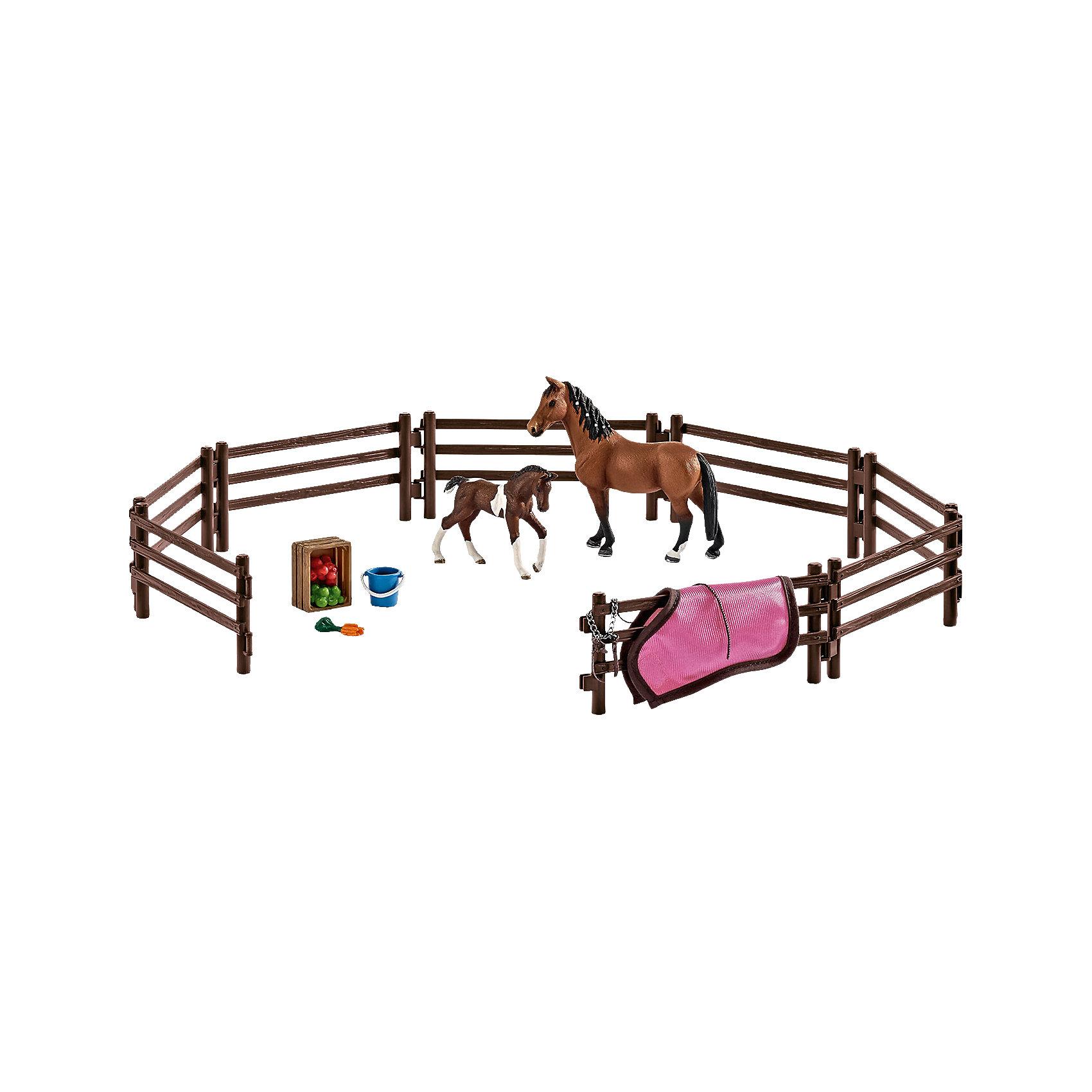 Набор Загон (без животных и аксессуаров), SchleichНабор Загон, Schleich (Шляйх) станет прекрасным подарком для всех юных любителей грациозных животных и отличным дополнением к другим игровым наборам данной серии Шляйх. Вы сможете сделать жизнь своих любимиц более приятной и комфортной, ежедневно выгуливая их на свежем воздухе. В комплект входят детали для сборки загона. Все детали изготовлены из качественного каучукового пластика, который безопасен для детей, приятны на ощупь, раскрашены вручную и имеют оригинальную текстуру, повторяющую образ реальных предметов.<br> Лошадки и аксессуары Schleich в комплект не входят, приобретаются отдельно.<br><br>Дополнительная информация:<br><br>- В комплекте: детали для сборки загона.<br>- Лошадки в комплект не входят!<br>- Материал: каучуковый пластик.<br>- Размер упаковки: 19 x 11 x 17,25 см. <br>- Вес: 0,372 кг.<br><br>Набор Загон (без животных и аксессуаров), Schleich (Шляйх) можно купить в нашем интернет-магазине.<br><br>Ширина мм: 195<br>Глубина мм: 175<br>Высота мм: 109<br>Вес г: 353<br>Возраст от месяцев: 36<br>Возраст до месяцев: 96<br>Пол: Женский<br>Возраст: Детский<br>SKU: 3902601