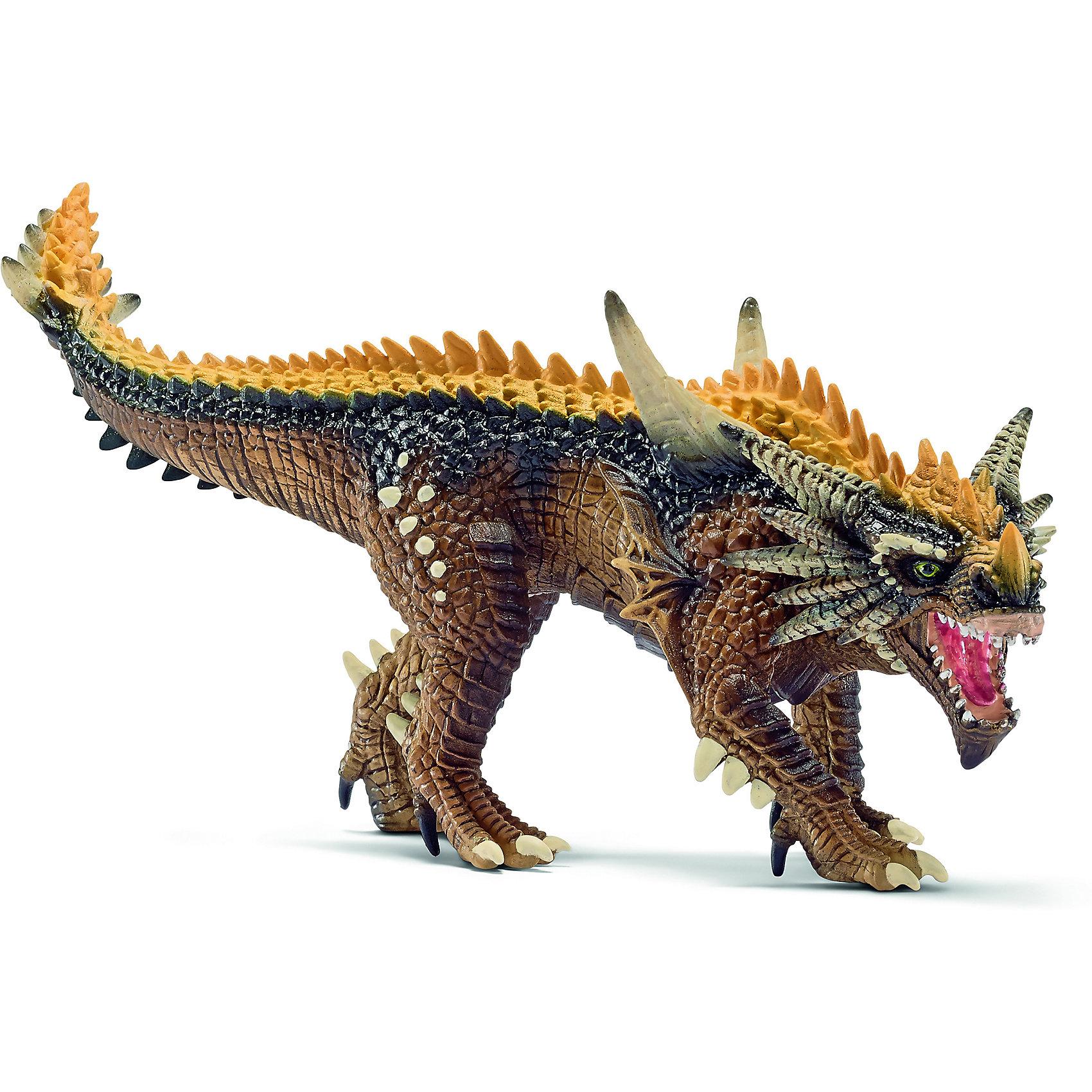 Дракон Охотник, SchleichДраконы и динозавры<br>Дракон Охотник, Schleich (Шляйх) – это высококачественная игровая фигурка.<br>Дракон Охотник из серии Рыцари от Schleich (Шляйх) - восхитительная фигурка дракона, которая сделает игры с рыцарями и воинами еще увлекательнее. Дракон охотник обладает мощными когтистыми лапами и ядовитым укусом. У него нет огненного дыхания. Говоря современным языком, эта функция отрофировалась. Но благодаря ядовитым клыкам, каждый укус дракона становится смертельным. Крылья у дракона также отсутствуют, в тех местах, где он обитает, они бы только мешали охотиться. Особое строение шкуры позволяет дракону передвигаться практически бесшумно. Вкупе с удивительной способностью ночного зрения и выдающейся выносливостью дракон Охотник является грозной силой. <br>Прекрасно выполненные фигурки Schleich (Шляйх) отличаются высочайшим качеством игрушек ручной работы. Каждая фигурка разработана с учетом исследований в области педагогики и производится как настоящее произведение для маленьких детских ручек. Все фигурки Schleich (Шляйх) сделаны из гипоаллергенных высокотехнологичных материалов, раскрашены вручную и не вызывают аллергии у ребенка.<br><br>Дополнительная информация:<br><br>- Размер фигурки: 21 х 6,5 х 9,6 см.<br>- Материал: высококачественный каучуковый пластик<br><br>Фигурку Дракон Охотник, Schleich (Шляйх) можно купить в нашем интернет-магазине.<br><br>Ширина мм: 203<br>Глубина мм: 60<br>Высота мм: 86<br>Вес г: 181<br>Возраст от месяцев: 36<br>Возраст до месяцев: 96<br>Пол: Мужской<br>Возраст: Детский<br>SKU: 3902631