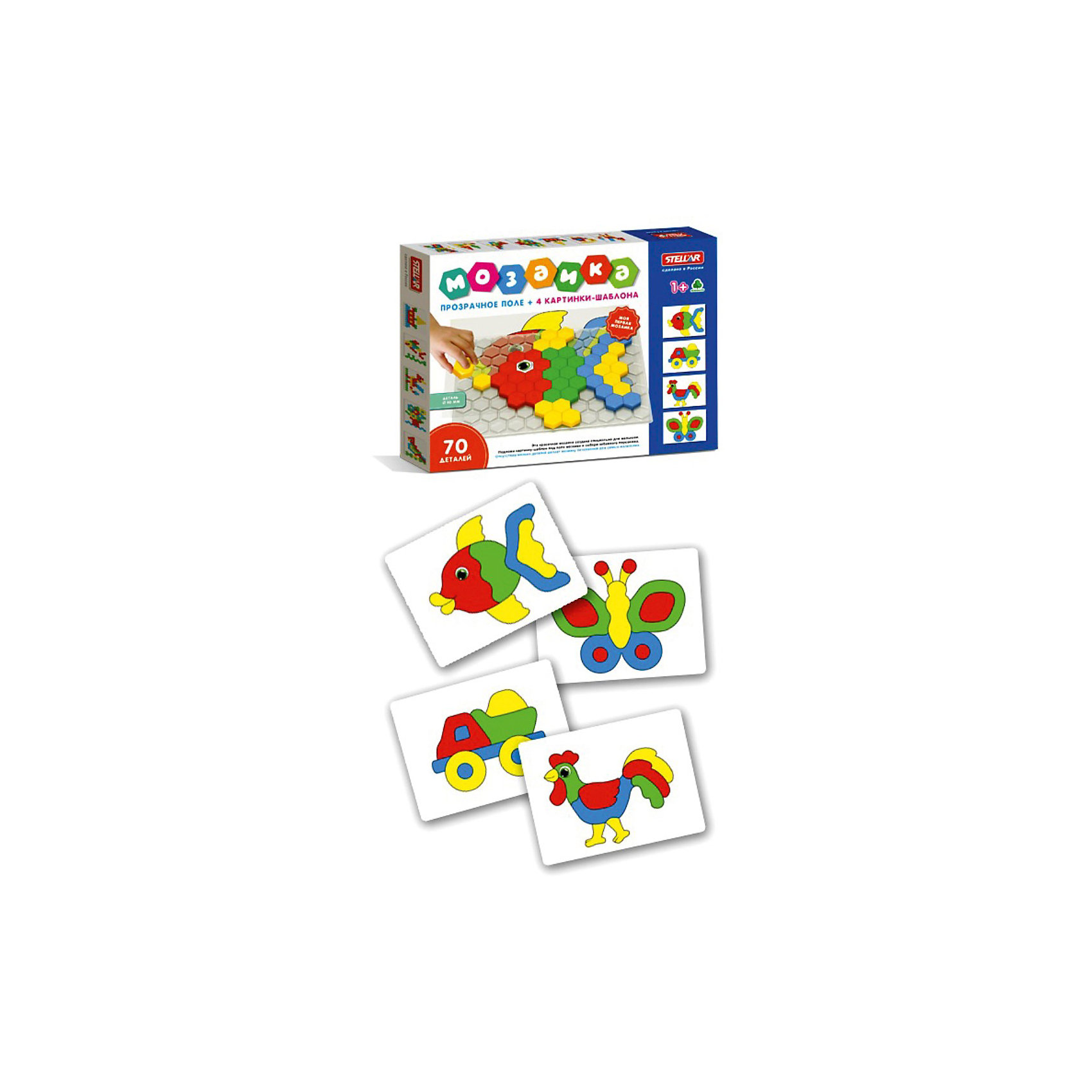 Мозаика, 70 деталей, СтелларЯркая, разноцветная мозайка обязательно понравится вашему ребенку. По - началу малыш может испытывать некоторые трудности, собирая ее, но  с вашей помощью у него обязательно все получится! С каждым разом собирать картинки будет легче и легче. А когда кроха освоит этот набор, можно будет перейти к мозаике с большим количеством элементов. Этот красочный набор можно брать с собой куда угодно, все что нужно для игры и творчества - это найти ровную горизонтальную поверхность! Практически все педагоги и психологи сходятся во мнении, что такие наборы должны быть у каждого ребенка, т. к. они прекрасно развивают мелкую моторику, мышление, внимательность и усидчивость. <br><br>Дополнительная информация:<br><br>- Комплектация: прозрачное поле, картинки-шаблоны (4 шт.)<br>- Материал: полипропилен.<br>- Диаметр элемента: 40мм.<br><br>Мозаику, 70 деталей, Стеллар можно купить в нашем магазине.<br><br>Ширина мм: 475<br>Глубина мм: 358<br>Высота мм: 40<br>Вес г: 500<br>Возраст от месяцев: 12<br>Возраст до месяцев: 72<br>Пол: Унисекс<br>Возраст: Детский<br>SKU: 3905849