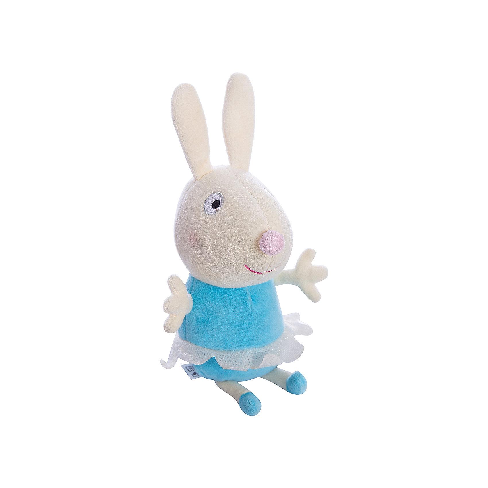 Игрушка Кролик Ребекка балерина, 20 см, Свинка ПеппаЛинейка мягких игрушек Балерины, Свинка Пеппа (Peppa Pig ), создана по мотивам серии мультфильма Урок балета. Игрушка  Кролик Ребекка балерина одета в веселую юбочку из ткани. Эта очаровательная мягкая игрушка очень приятна на ощупь, так как изготовлена из велюровой ткани и плотно набита. Также из данной серии вы можете выбрать следующие игрушки: Кролик Ребекка балерина, Пеппа балерина, Кошечка Кэнди балерина. Собери всем мягких балерин и устрой веселое представление. Игрушка изготовлена из высококачественных материалов, безопасных для детей.<br><br>Дополнительная информация: <br> <br>- Материал: текстиль, синтепон.<br>- Размер: 20 см (с ножками).<br>- Цвет: голубой, бежевый..<br><br>Игрушку Кролик Ребекка балерина, 20 см, Свинка Пеппа (Peppa Pig ) можно купить в нашем магазине.<br><br>Ширина мм: 90<br>Глубина мм: 80<br>Высота мм: 200<br>Вес г: 60<br>Возраст от месяцев: 36<br>Возраст до месяцев: 2147483647<br>Пол: Унисекс<br>Возраст: Детский<br>SKU: 3905898