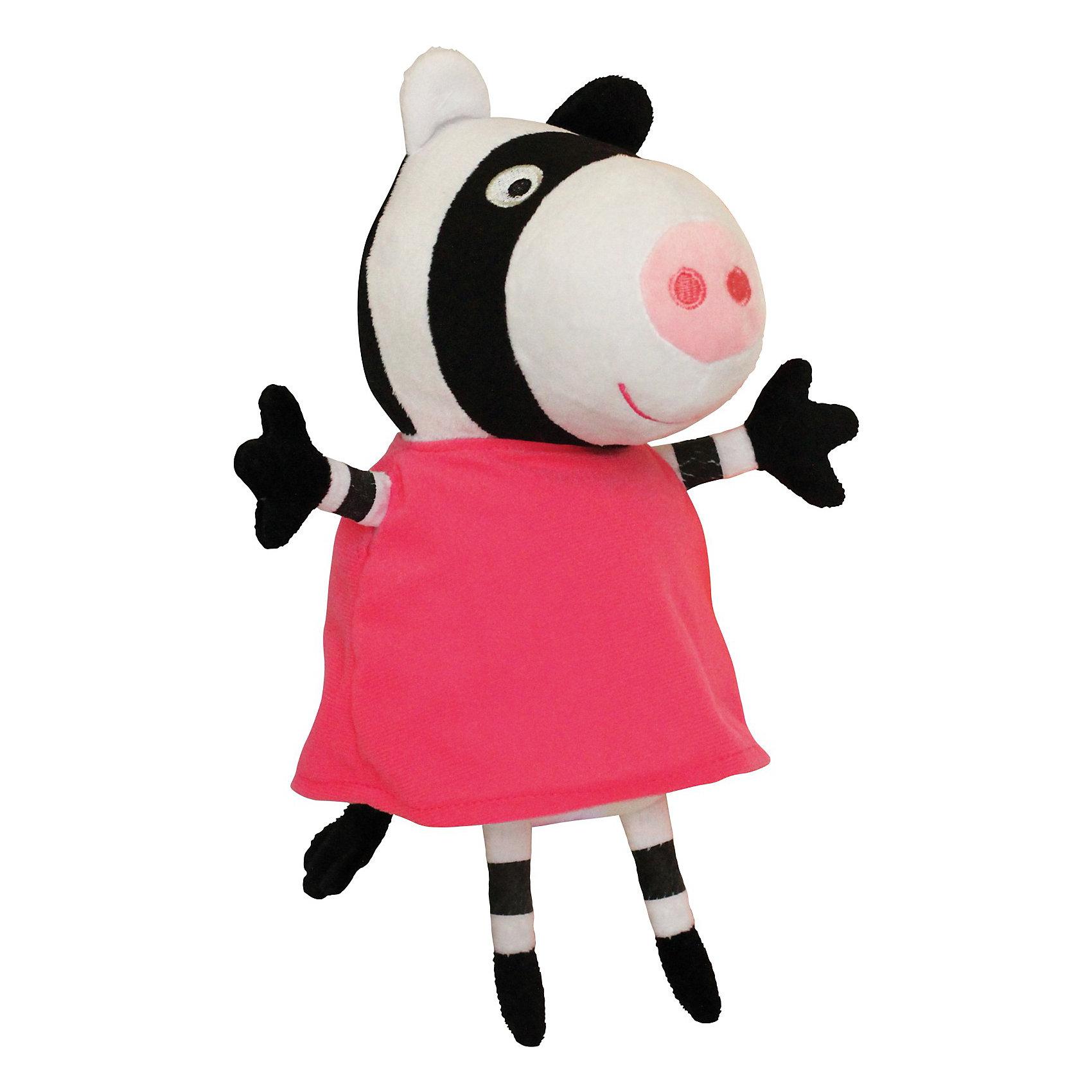 Игрушка  Зебра Зои, 20 см, Свинка ПеппаМягкая Игрушка  Зебра Зои  Свинка Пеппа (Peppa Pig ) понравится любой малышке. Она составит компанию в игре, на прогулке или в детском саду, разделит с малюткой безмятежные сновидения во время отдыха. Зои одета в яркое розовое платьице, которое можно легко снимать и одевать. Эта очаровательная мягкая игрушка очень приятна на ощупь, так как изготовлена из велюровой ткани и плотно набита.  Изготовленная из высококачественных гипоаллергенных материалов, она абсолютно безопасна для детей.<br><br>Дополнительная информация: <br> <br>- Материал: текстиль, синтепон.<br>- Размер: 20 см (с ножками).<br>- Цвет: белый, черный, розовый.<br><br>Игрушку Зебра Зои, 20 см, Свинка Пеппа (Peppa Pig ) можно купить в нашем магазине.<br><br>Ширина мм: 100<br>Глубина мм: 80<br>Высота мм: 200<br>Вес г: 70<br>Возраст от месяцев: 36<br>Возраст до месяцев: 2147483647<br>Пол: Унисекс<br>Возраст: Детский<br>SKU: 3905902