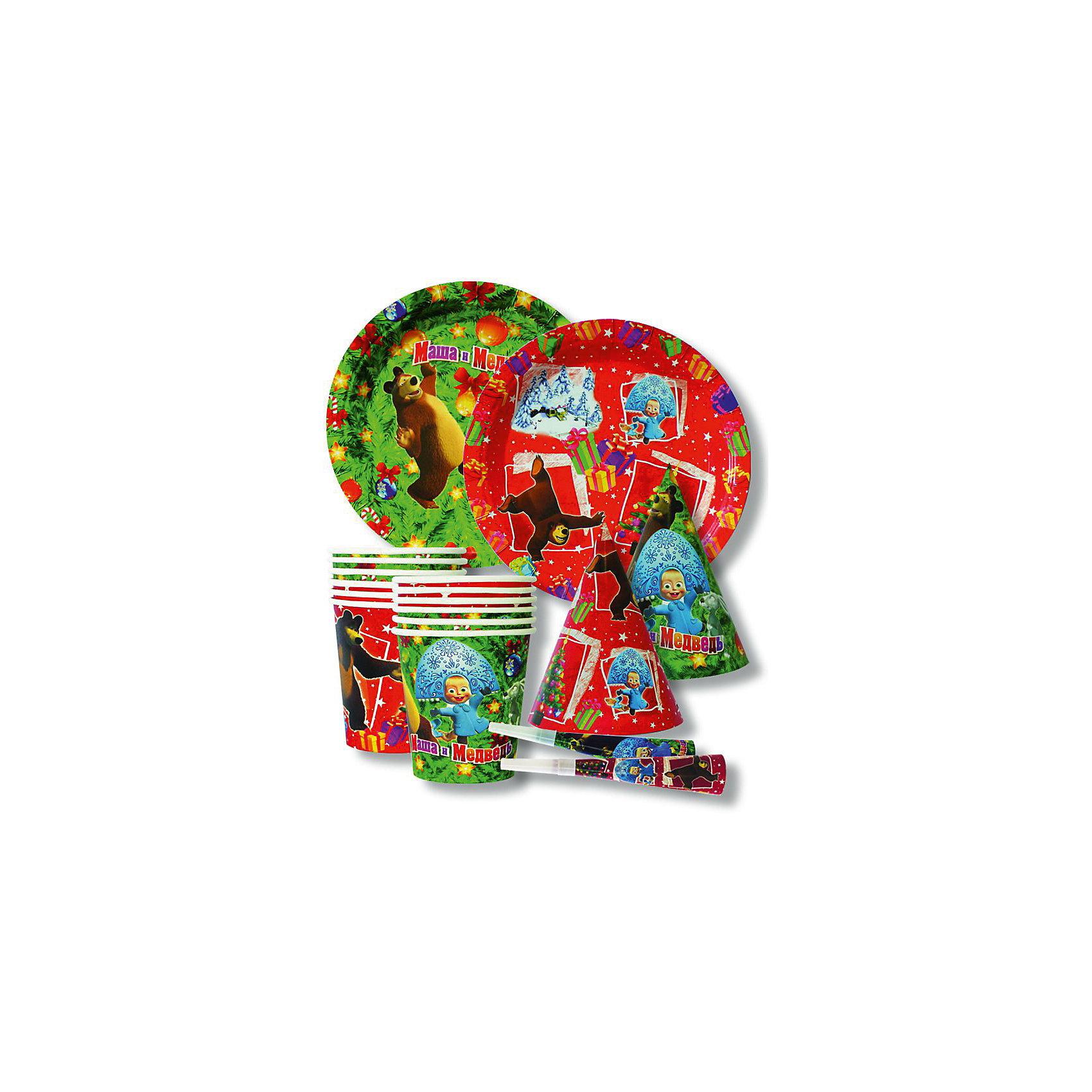 Набор Новый Год! на 6 персон (в ассортименте), Маша и медведьНабор Новый Год! на 6 персон, Маша и медведь замечательно подойдет для детского праздника и поможет создать веселую новогоднюю атмосферу. Красочный комплект выполнен по мотивам популярного отечественного мультсериала Маша и медведь и украшен изображениями его персонажей. Благодаря глянцевому ламинированному покрытию посуда отлично удерживает еду и напитки, не промокает, не протекает и надолго сохраняет опрятный внешний вид. Этот красочный набор станет великолепным дополнением к торжеству, ведь в нем не только посуда, но и предметы для веселых забав. Комплект рассчитан на 6 персон и включает в себя 24 предмета: 6 тарелок, 6 стаканов, 6 бумажных колпачков и  6 бумажных дудочек. В ассортименте представлены два варианта дизайна.<br><br>Дополнительная информация:<br><br>- В комплекте:  6 тарелок (диаметр - 18 см.), 6 стаканов (объем -  210 мл.), 6 бумажных колпачков (15 см.), 6 бумажных дудочек (20 см.).<br>- Материал: картон, пластик.<br>- Размер упаковки: 25 х 28 х 10,5 см.<br>- Вес: 170 гр.<br><br>ВНИМАНИЕ! Данный артикул имеется в наличии в разных вариантах исполнения. Заранее выбрать определенный вариант нельзя. При заказе нескольких наборов возможно получение одинаковых. <br><br>Набор Новый Год! на 6 персон, Маша и медведь, можно купить в нашем интернет-магазине.<br><br>Ширина мм: 310<br>Глубина мм: 250<br>Высота мм: 80<br>Вес г: 170<br>Возраст от месяцев: 36<br>Возраст до месяцев: 96<br>Пол: Унисекс<br>Возраст: Детский<br>SKU: 3907721
