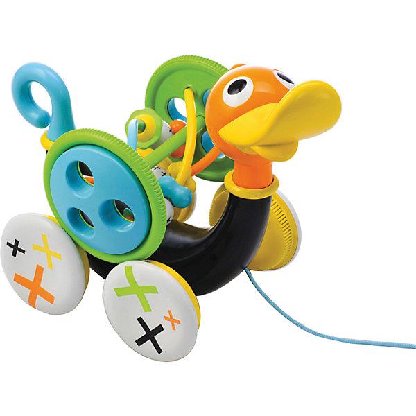 Музыкальная уточка,  YookidooКаталки и качалки<br>C этой прекрасной игрушкой совершать свои первые шаги будет еще интереснее! Малыш тянет за веревочку  и игрушка едет вперед, при этом свистит и  издает забавные звуки. Звуки включаются только тогда, когда игрушка едет. Для того, чтобы насладиться игрой, малыш должен учиться шагать вперед, при этом тянуть уточку за собой. Если ребенку надоест музыкальное сопровождение, то его можно отключить, повернув хвостик Уточки. Кроме этого, дополнительно в набор входит большая игрушка-погремушка, которая крепится к телу Уточки. Ее можно снимать и  использовать отдельно. На Уточке располагаются маленькие игрушечки- бегунки, которые малыш может перетаскивать пальчиком из стороны в сторону. Все детали изделия выполнены из высококачественных гипоаллергенных материалов, безопасных для детей. Музыкальная уточка учит малыша ходить, развивает мелкую моторику рук, логику, слуховое восприятие.<br><br>Дополнительная информация:<br><br>- Комплектация: уточка, игрушка-погремушка.<br>- Материал: пластик.<br>- Цвет: черный, зеленый, голубой, оранжевый, желтый.<br>- Размер упаковки: 27х17х26 см<br>- Звуковые эффекты: есть.<br>- Элемент питания: 3 батарейки АА (входят в комплект).<br><br>Музыкальную уточку,  Yookidoo можно купить в нашем магазине.<br><br>Ширина мм: 273<br>Глубина мм: 177<br>Высота мм: 243<br>Вес г: 781<br>Возраст от месяцев: 12<br>Возраст до месяцев: 24<br>Пол: Унисекс<br>Возраст: Детский<br>SKU: 3908340