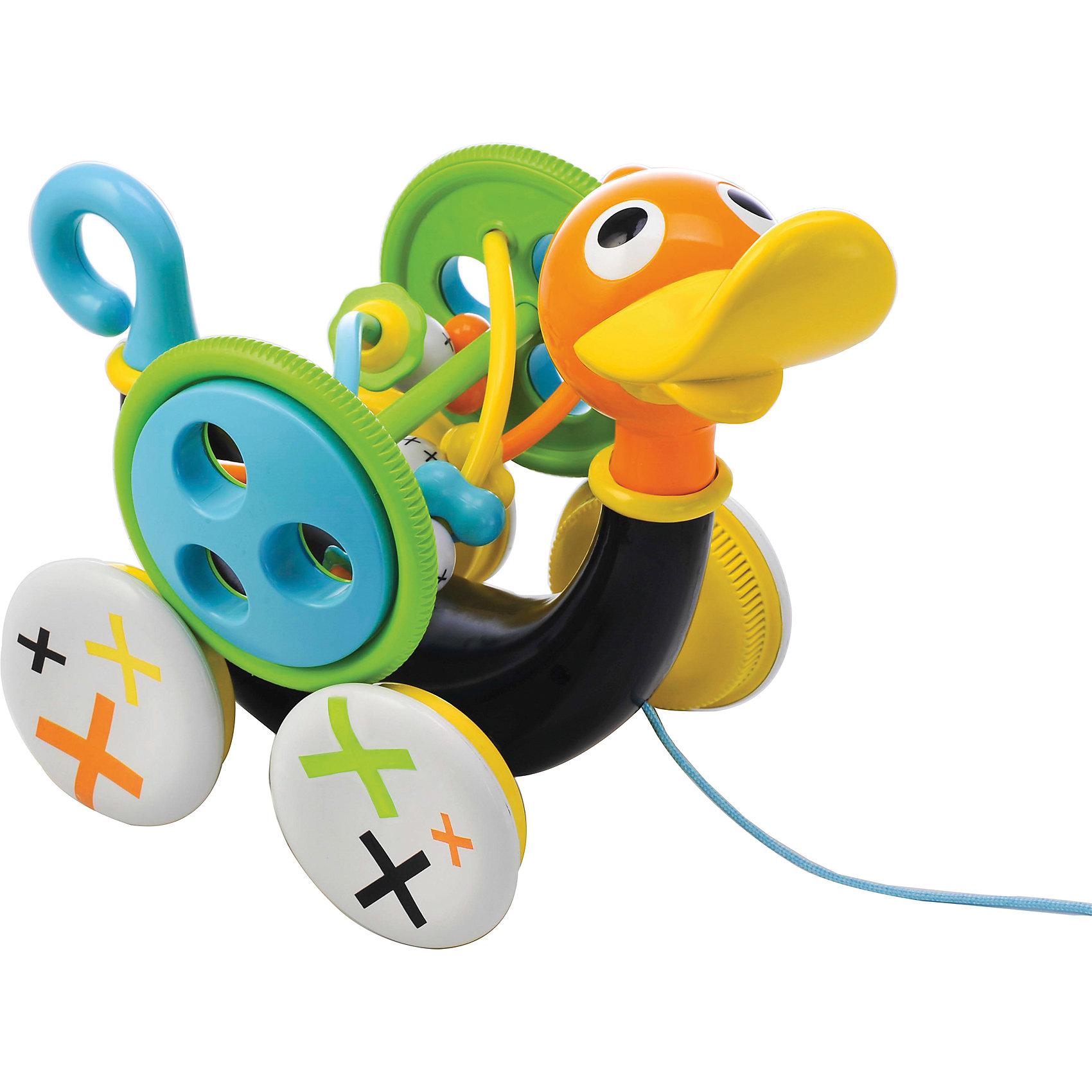 Музыкальная уточка,  YookidooC этой прекрасной игрушкой совершать свои первые шаги будет еще интереснее! Малыш тянет за веревочку  и игрушка едет вперед, при этом свистит и  издает забавные звуки. Звуки включаются только тогда, когда игрушка едет. Для того, чтобы насладиться игрой, малыш должен учиться шагать вперед, при этом тянуть уточку за собой. Если ребенку надоест музыкальное сопровождение, то его можно отключить, повернув хвостик Уточки. Кроме этого, дополнительно в набор входит большая игрушка-погремушка, которая крепится к телу Уточки. Ее можно снимать и  использовать отдельно. На Уточке располагаются маленькие игрушечки- бегунки, которые малыш может перетаскивать пальчиком из стороны в сторону. Все детали изделия выполнены из высококачественных гипоаллергенных материалов, безопасных для детей. Музыкальная уточка учит малыша ходить, развивает мелкую моторику рук, логику, слуховое восприятие.<br><br>Дополнительная информация:<br><br>- Комплектация: уточка, игрушка-погремушка.<br>- Материал: пластик.<br>- Цвет: черный, зеленый, голубой, оранжевый, желтый.<br>- Размер упаковки: 27х17х26 см<br>- Звуковые эффекты: есть.<br>- Элемент питания: 3 батарейки АА (входят в комплект).<br><br>Музыкальную уточку,  Yookidoo можно купить в нашем магазине.<br><br>Ширина мм: 273<br>Глубина мм: 177<br>Высота мм: 243<br>Вес г: 781<br>Возраст от месяцев: 12<br>Возраст до месяцев: 24<br>Пол: Унисекс<br>Возраст: Детский<br>SKU: 3908340