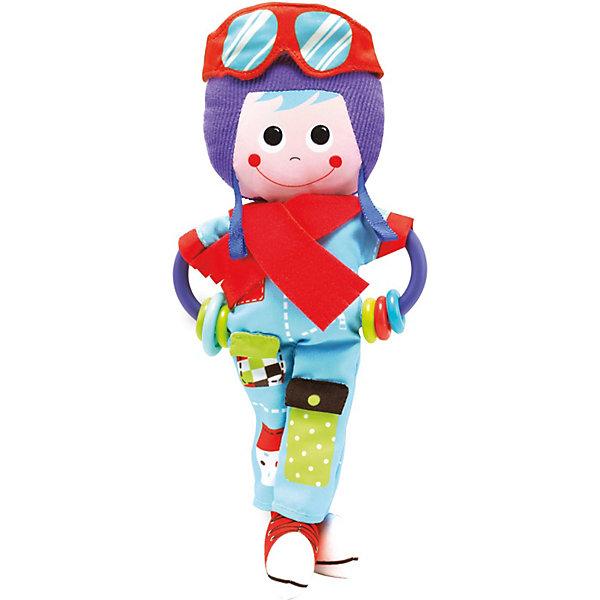 Игрушка-погремушка Пилот,  YookidooИгрушки для новорожденных<br>Первая игрушка вашего малыша. Игрушка Пилот выполнена в ярком и красочном дизайне, который обязательно понравится крохе. Ребенок будет с удовольствием рассматривать свою первую и очень забавную игрушку. Помимо этого, игрушка сделана из материалов различной текстуры, для тренировки моторики пальчиков и развития тактильных ощущений. К Пилоту крепится прорезыватель со множеством разноцветных колечек, который непременно понадобится для чешущихся зубов крохи. При необходимости, игрушку можно подвесить в коляску, кроватку, используя большое пластиковое кольцо. В комплект также входит музыкальная погремушка Вертолет, при встряхивании которой звучат смешные звуки. К вертолету дополнительно в комплект входит пластиковое кольцо для подвешивания. С Пилотом малыш развивает моторику рук, тактильные ощущения, слуховое восприятие. Игрушка выполнена из высококачественных материалов, безопасных для ребенка<br><br>Дополнительная информация:<br><br>- Комплектация: пилот с прорезывателем, вертолет, пластиковое кольцо для подвешивания.<br>- Материал: пластик, текстиль.<br>- Цвет: красный, голубой, фиолетовый, салатовый.<br>- Размер упаковки: 19 x 18 x 5 см.<br>- Звуковые эффекты: есть.<br>- Элемент питания: батарейки 3хLR44 (входят в комплект).<br><br>Игрушку-погремушку Пилот,  Yookidoo можно купить в нашем магазине.<br>Ширина мм: 190; Глубина мм: 50; Высота мм: 185; Вес г: 138; Возраст от месяцев: 0; Возраст до месяцев: 12; Пол: Унисекс; Возраст: Детский; SKU: 3908341;