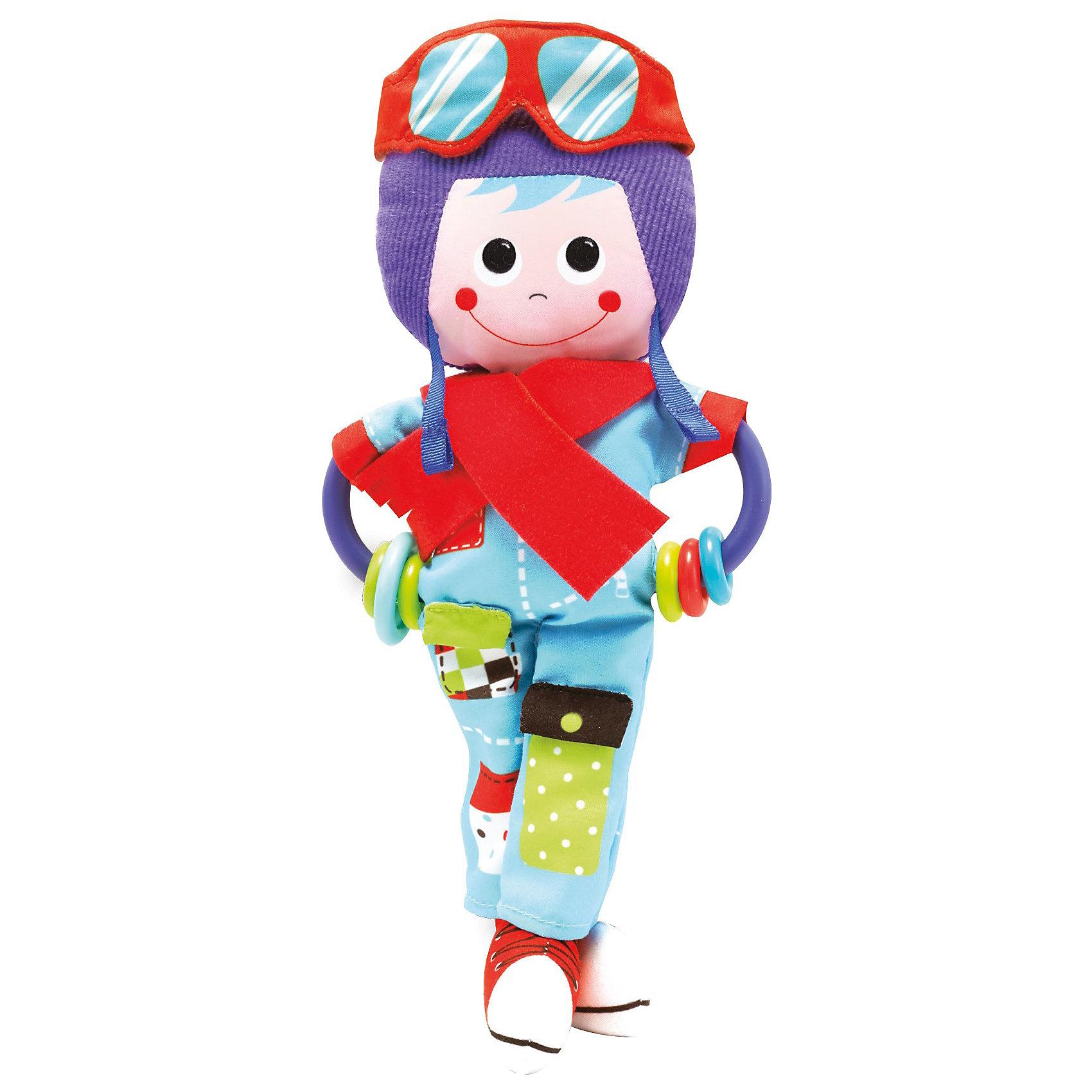 Игрушка-погремушка Пилот,  YookidooПогремушки<br>Первая игрушка вашего малыша. Игрушка Пилот выполнена в ярком и красочном дизайне, который обязательно понравится крохе. Ребенок будет с удовольствием рассматривать свою первую и очень забавную игрушку. Помимо этого, игрушка сделана из материалов различной текстуры, для тренировки моторики пальчиков и развития тактильных ощущений. К Пилоту крепится прорезыватель со множеством разноцветных колечек, который непременно понадобится для чешущихся зубов крохи. При необходимости, игрушку можно подвесить в коляску, кроватку, используя большое пластиковое кольцо. В комплект также входит музыкальная погремушка Вертолет, при встряхивании которой звучат смешные звуки. К вертолету дополнительно в комплект входит пластиковое кольцо для подвешивания. С Пилотом малыш развивает моторику рук, тактильные ощущения, слуховое восприятие. Игрушка выполнена из высококачественных материалов, безопасных для ребенка<br><br>Дополнительная информация:<br><br>- Комплектация: пилот с прорезывателем, вертолет, пластиковое кольцо для подвешивания.<br>- Материал: пластик, текстиль.<br>- Цвет: красный, голубой, фиолетовый, салатовый.<br>- Размер упаковки: 19 x 18 x 5 см.<br>- Звуковые эффекты: есть.<br>- Элемент питания: батарейки 3хLR44 (входят в комплект).<br><br>Игрушку-погремушку Пилот,  Yookidoo можно купить в нашем магазине.<br><br>Ширина мм: 190<br>Глубина мм: 50<br>Высота мм: 185<br>Вес г: 138<br>Возраст от месяцев: 0<br>Возраст до месяцев: 12<br>Пол: Унисекс<br>Возраст: Детский<br>SKU: 3908341