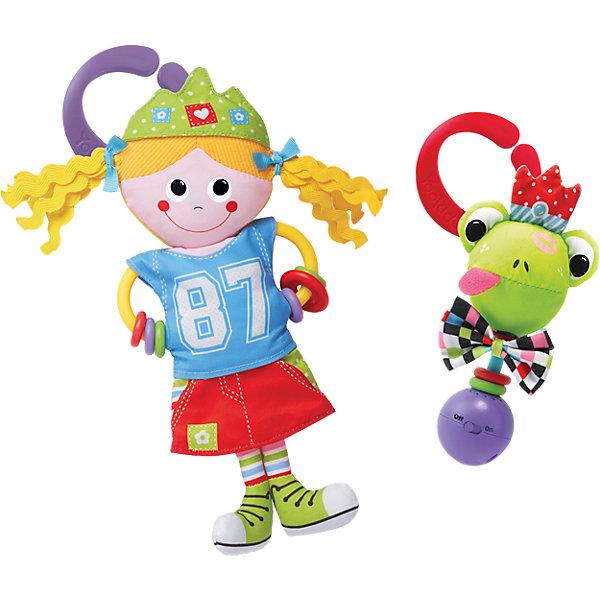 Игрушка-погремушка Девочка в городе,  YookidooИгрушки для новорожденных<br>Первая игрушка вашего малыша. Игрушка Девочка в городе выполнена в ярком и красочном дизайне, который обязательно понравится крохе. Ребенок будет с удовольствием рассматривать свою первую и очень забавную игрушку. Помимо этого, игрушка сделана из материалов различной текстуры, для тренировки моторики пальчиков и развития тактильных ощущений. К Девочке в городе крепится прорезыватель со множеством разноцветных колечек, который непременно понадобится для чешущихся зубов. При необходимости, игрушку можно подвесить в коляску, кроватку, используя большое пластиковое кольцо. В комплект также входит музыкальная погремушка Лягушка. При встряхивании звучат смешные звуки. К лягушке прилагается пластиковое кольцо для подвешивания. Изделие выполнено из высококачественных материалов, безопасных для ребенка. Игрушка поможет вашему малышу  развить моторику рук, тактильные ощущения, слуховое восприятие. <br><br>Дополнительная информация:<br><br>- Комплектация: девочка с прорезывателем, погремушка-лягушка, пластиковое кольцо для подвешивания.<br>- Материал: пластик, текстиль.<br>- Цвет: красный, голубой, фиолетовый, салатовый, розовый, белый, желтый.<br>- Размер упаковки: 19 x 18 x 5 см.<br>- Звуковые эффекты: есть.<br>- Элемент питания: батарейки 3хLR44 (входят в комплект).<br><br>Игрушку-погремушку Девочка в городе,  Yookidoo можно купить в нашем магазине.<br><br>Ширина мм: 301<br>Глубина мм: 264<br>Высота мм: 57<br>Вес г: 190<br>Возраст от месяцев: 0<br>Возраст до месяцев: 18<br>Пол: Унисекс<br>Возраст: Детский<br>SKU: 3908342