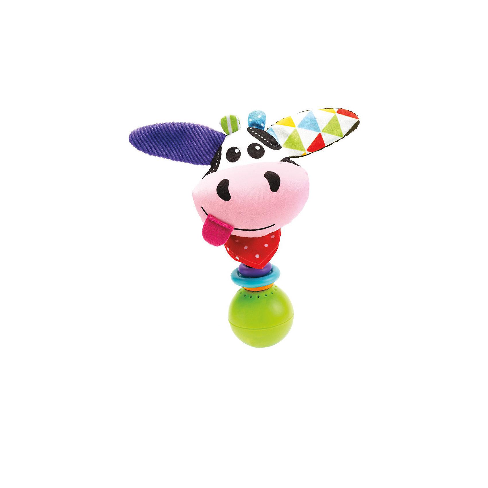 Погремушка Коровка,  YookidooПогремушки<br>Яркая и забавная погремушка в виде смешной Коровки не оставит равнодушным ни ребенка, ни взрослого. Погремушка оснащена звуковыми эффектами, которые включаются, когда ребенок ее встряхивает. В комплект к погремушке входит большое пластиковое кольцо, благодаря которому, ее можно подвесить в коляску или кроватку. Погремушка Коровка улучшит хватательные навыки малыша, укрепит мускулатуру детских рук, улучшит зрительное и слуховое восприятие, а также подарит хорошее настроение.<br><br><br>Дополнительная информация:<br><br>- Комплектация: погремушка, пластиковое кольцо для подвешивания.<br>- Материал: пластик, текстиль.<br>- Цвет: красный, голубой, белый, желтый, розовый, фиолетовый.<br>- Размер упаковки: 5 x 16 x 19 см.<br>- Звуковые эффекты: есть.<br>- Элемент питания: батарейки 3хLR44 (входят в комплект).<br><br>Погремушку Коровка,  Yookidoo можно купить в нашем магазине.<br><br>Ширина мм: 195<br>Глубина мм: 50<br>Высота мм: 165<br>Вес г: 62<br>Возраст от месяцев: 0<br>Возраст до месяцев: 12<br>Пол: Унисекс<br>Возраст: Детский<br>SKU: 3908343
