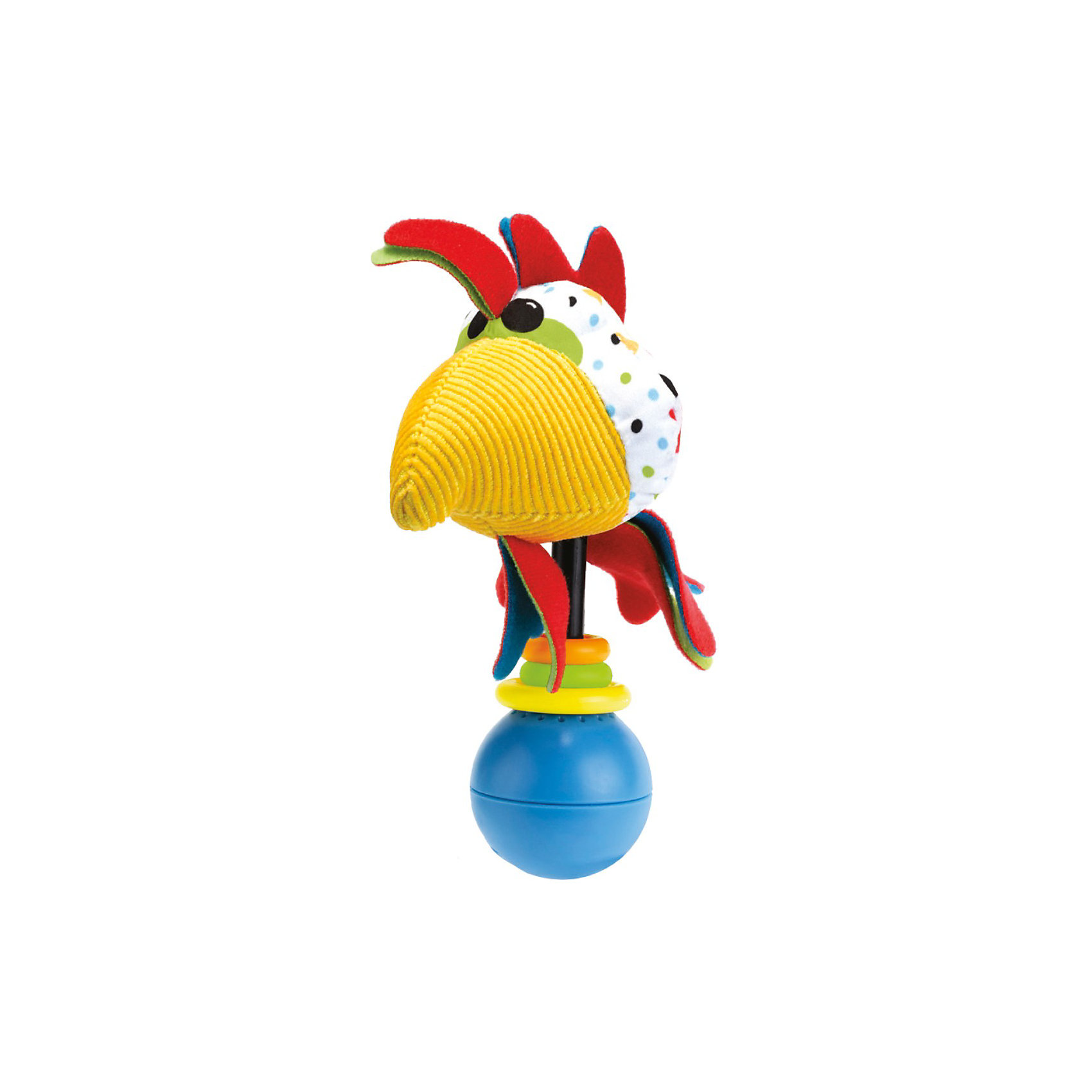 Погремушка Петушок,  YookidooЯркая и забавная погремушка в виде смешного Петушка не оставит равнодушным ни ребенка, ни взрослого. Погремушка оснащена звуковыми эффектами, которые включаются, когда ребенок ее встряхивает. В комплект к погремушке входит большое пластиковое кольцо, благодаря которому, ее можно подвесить в коляску или кроватку. Погремушка Петушок улучшит хватательные навыки малыша, укрепит мускулатуру детских рук, улучшит зрительное и слуховое восприятие, а также подарит хорошее настроение.<br><br>Дополнительная информация:<br><br>- Комплектация: погремушка, пластиковое кольцо для подвешивания.<br>- Материал: пластик, текстиль.<br>- Цвет: красный, голубой, белый, желтый.<br>- Размер упаковки: 5 x 16 x 19 см.<br>- Звуковые эффекты: есть.<br>- Элемент питания: батарейки 3хLR44 (входят в комплект).<br><br>Погремушку Петушок,  Yookidoo можно купить в нашем магазине.<br><br>Ширина мм: 195<br>Глубина мм: 50<br>Высота мм: 165<br>Вес г: 64<br>Возраст от месяцев: 0<br>Возраст до месяцев: 12<br>Пол: Унисекс<br>Возраст: Детский<br>SKU: 3908344