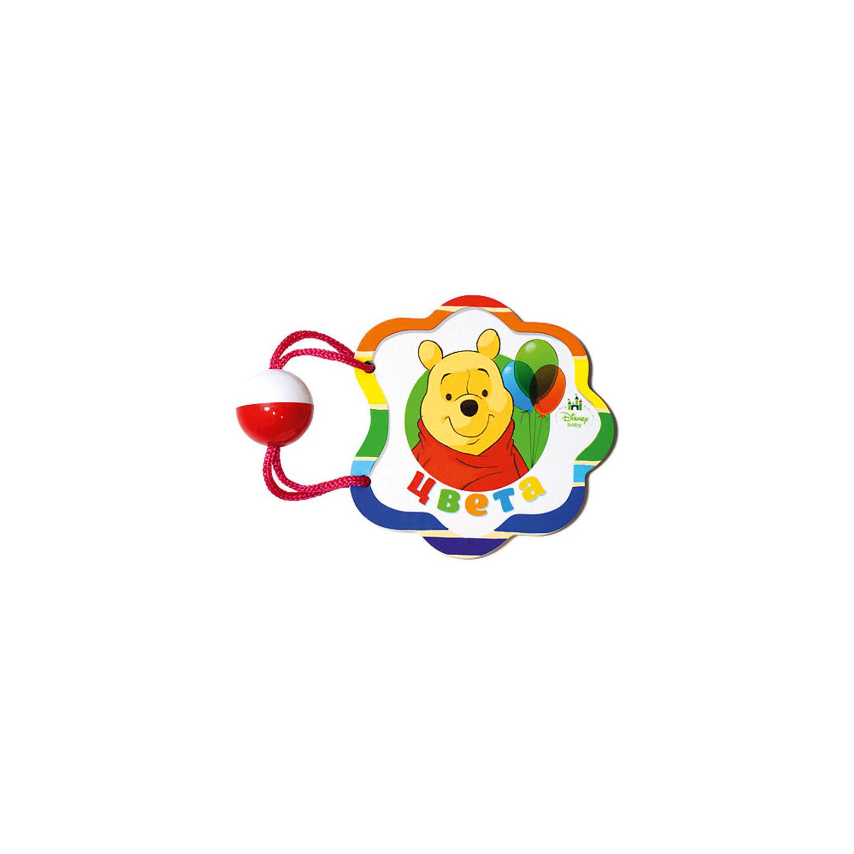 Книжка-погремушка Цвета, Винни ПухВ красивой яркой книжке с погремушкой самых маленьких детишек ждет встреча с любимыми героями диснеевского мультика Винни Пух. Это прекрасный подарок для каждого малыша! Книжка подскажет малышу как отличать цвета.<br><br>Дополнительная информация:<br><br>- Страниц: 8<br>- Материал: картон<br>- Формат: 120х120 мм<br>- Вырубка на шнурке с погремушкой.<br>- Вес: 80 г<br><br>Книжку-погремушка Давай дружить!, Король Лев можно купить в нашем магазине.<br><br>Ширина мм: 140<br>Глубина мм: 35<br>Высота мм: 120<br>Вес г: 80<br>Возраст от месяцев: 0<br>Возраст до месяцев: 12<br>Пол: Унисекс<br>Возраст: Детский<br>SKU: 3910668