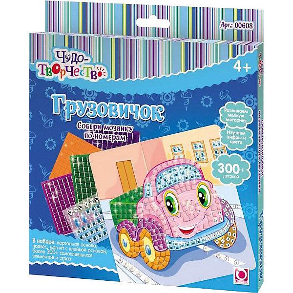 Самоклеющаяся мозаика Грузовичок, ОригамиМозаика детская<br>Самоклеющаяся мозаика Грузовичок, Оригами – это творческая игра, в результате которой у детей получается замечательный «шедевр».<br>Самоклеющаяся мозаика Грузовичок - увлекательная игрушка для детей, которая поможет изучить цвета и цифры. Отличие этой мозаики от обычной в том, что все ее детали имеют клейкую основу, их только нужно правильно разместить. Отклеивая и приклеивая элементы самоклеющейся мозаики, дети совершают тонкие манипуляции, тренируя тем самым мелкую моторику и усидчивость. Проявив внимательность и аккуратность, получается яркая и веселая картинка, которую можно повесить на стену или прикрепить с помощью магнита на холодильник.<br><br>Дополнительная информация:<br><br>- В наборе: картонная основа с картинкой (20x20см), более 300 самоклеющихся элементов и страз, подвес, магнит с клейкой основой<br>- Размер упаковки: 20,5 х 1,5 х 23 см.<br><br>Самоклеющуюся мозаику Грузовичок, Оригами можно купить в нашем интернет-магазине.<br><br>Ширина мм: 205<br>Глубина мм: 230<br>Высота мм: 15<br>Вес г: 108<br>Возраст от месяцев: 48<br>Возраст до месяцев: 108<br>Пол: Мужской<br>Возраст: Детский<br>SKU: 3911425