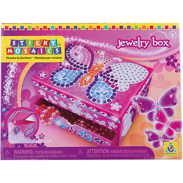 Мозаика-шкатулка Бабочка, ОригамиДетские предметы интерьера<br>Мозаика-шкатулка Бабочка, Оригами – это оригинальная шкатулка для маленькой принцессы с разноцветными самоклеющимися элементами.<br>Мозаика-шкатулка Бабочка непременно понравится вашей девочке. Этот великолепный набор для творчества включает в себя прекрасную шкатулку, которую можно украсить красивой бабочкой с помощью различных стикеров-стразов. Самоклеющиеся элементы мозаики нужно наносить на шкатулку по номерам, а можно самой придумать узор! Умная мозаика с самоклеющимися элементами отличается высоким качеством исполнения и красочным цветовым дизайном. Шкатулка изготовлена из ламинированного картона. В двух отделениях шкатулки можно хранить любимые украшения! Она станет прекрасным дополнением интерьера комнаты!<br><br>Дополнительная информация:<br><br>- В наборе: шкатулка, 1000 сверкающих украшений<br>- Размер шкатулки: 20 х 10 х 15 см.<br>- Материал: бумага, картон, клеевой материал, пластмасса, гибкий поролон<br>- Размер упаковки: 21 x 10,8 x 15,9 см.<br><br>Мозаику-шкатулку Бабочка, Оригами можно купить в нашем интернет-магазине.<br><br>Ширина мм: 210<br>Глубина мм: 108<br>Высота мм: 159<br>Вес г: 536<br>Возраст от месяцев: 48<br>Возраст до месяцев: 108<br>Пол: Женский<br>Возраст: Детский<br>SKU: 3911454