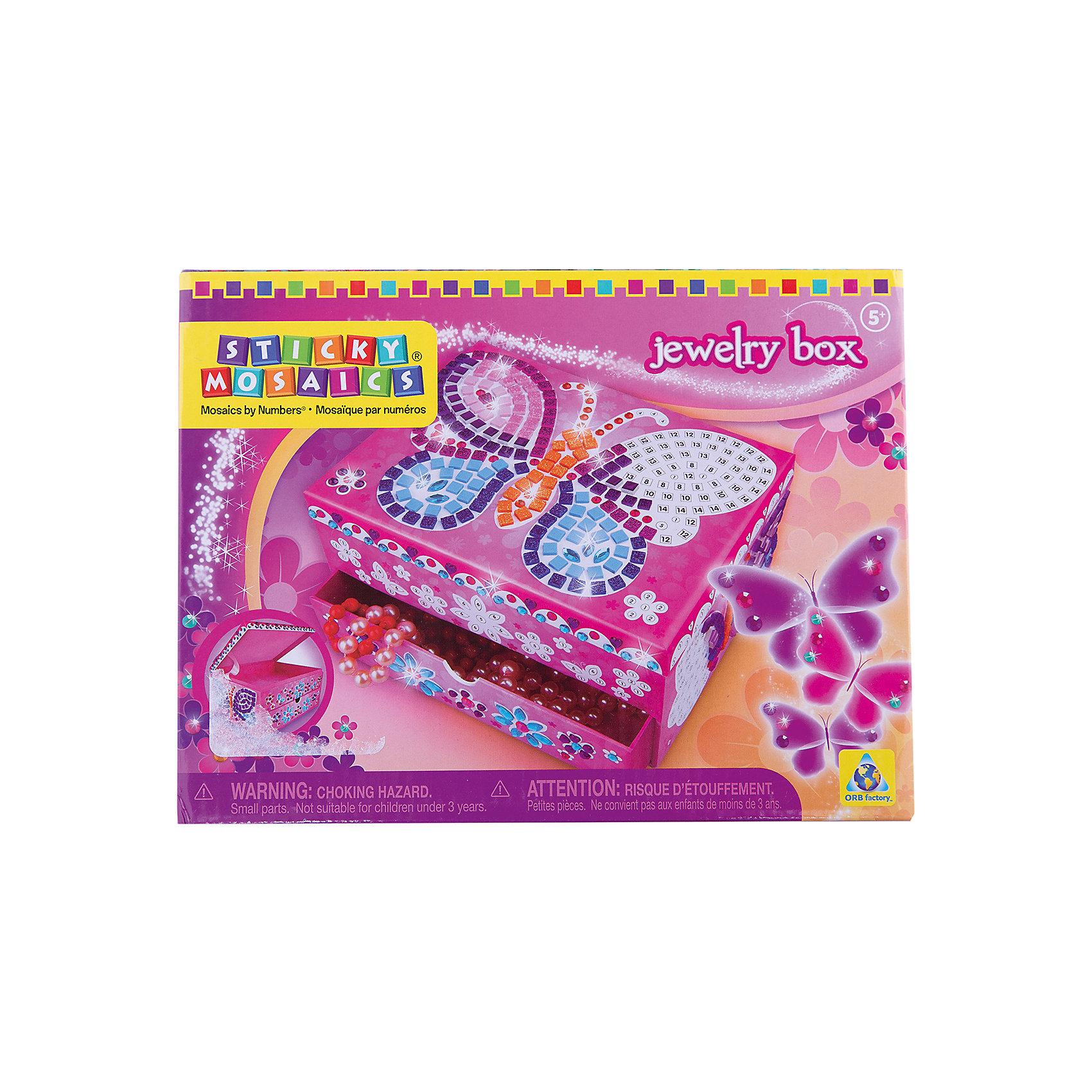 Мозаика-шкатулка Бабочка, ОригамиМозаика-шкатулка Бабочка, Оригами – это оригинальная шкатулка для маленькой принцессы с разноцветными самоклеющимися элементами.<br>Мозаика-шкатулка Бабочка непременно понравится вашей девочке. Этот великолепный набор для творчества включает в себя прекрасную шкатулку, которую можно украсить красивой бабочкой с помощью различных стикеров-стразов. Самоклеющиеся элементы мозаики нужно наносить на шкатулку по номерам, а можно самой придумать узор! Умная мозаика с самоклеющимися элементами отличается высоким качеством исполнения и красочным цветовым дизайном. Шкатулка изготовлена из ламинированного картона. В двух отделениях шкатулки можно хранить любимые украшения! Она станет прекрасным дополнением интерьера комнаты!<br><br>Дополнительная информация:<br><br>- В наборе: шкатулка, 1000 сверкающих украшений<br>- Размер шкатулки: 20 х 10 х 15 см.<br>- Материал: бумага, картон, клеевой материал, пластмасса, гибкий поролон<br>- Размер упаковки: 21 x 10,8 x 15,9 см.<br><br>Мозаику-шкатулку Бабочка, Оригами можно купить в нашем интернет-магазине.<br><br>Ширина мм: 210<br>Глубина мм: 108<br>Высота мм: 159<br>Вес г: 536<br>Возраст от месяцев: 48<br>Возраст до месяцев: 108<br>Пол: Женский<br>Возраст: Детский<br>SKU: 3911454