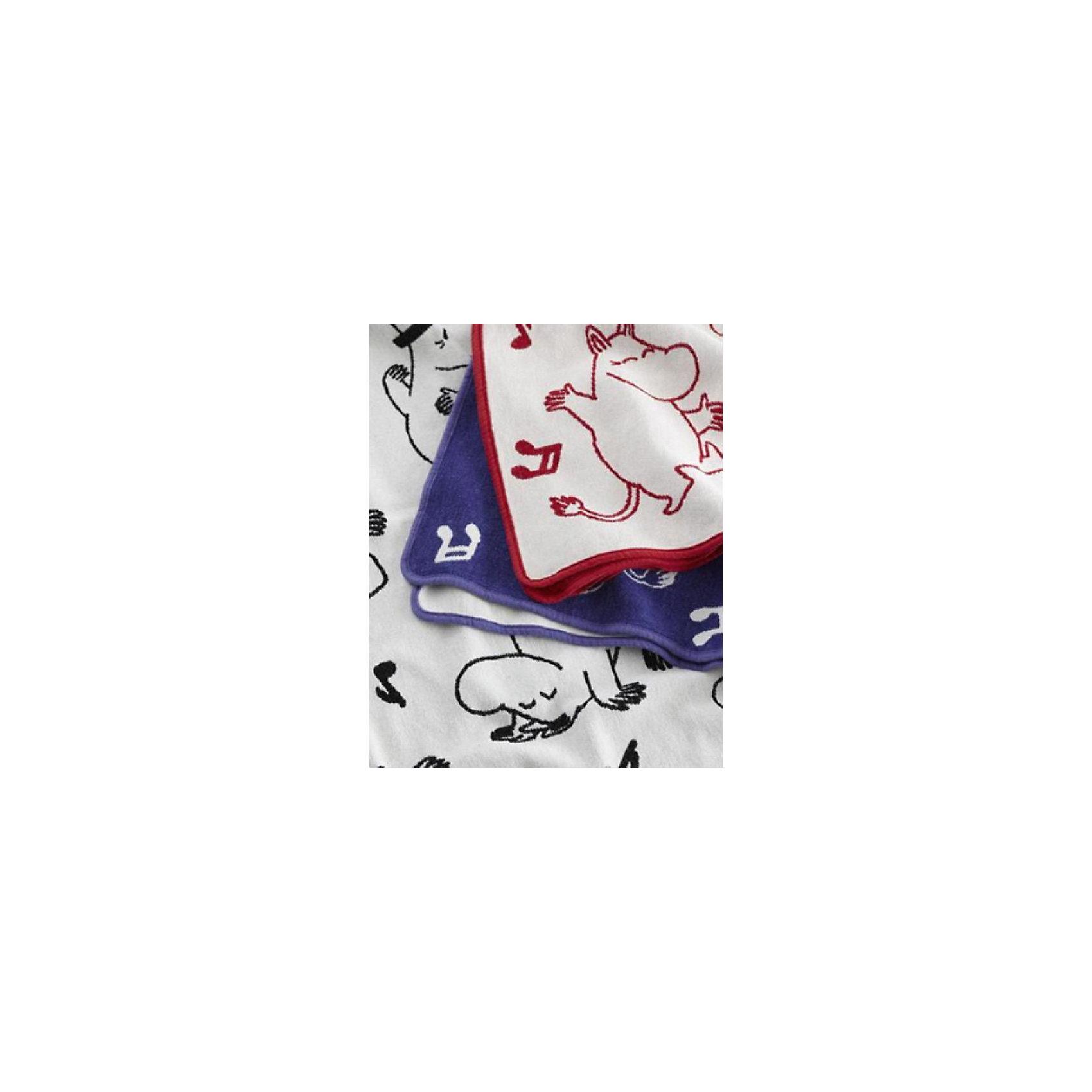 Одеяло-плед из хлопка Муми-тролли 90х140, Klippan, красный/белый
