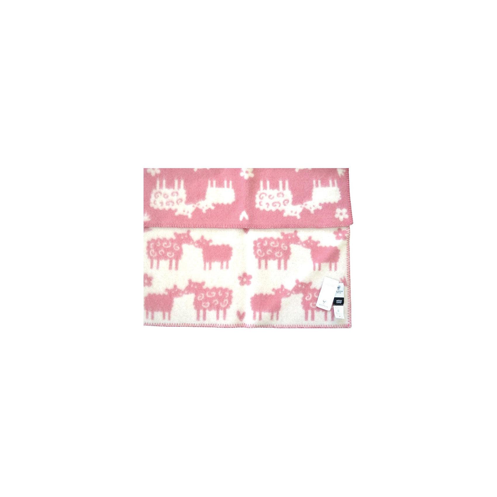 Одеяло-плед из эко-шерсти Овечки 65х90, Klippan, розовый/белый