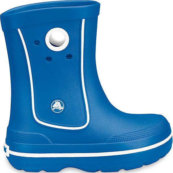 Резиновые сапоги Crocband™ Jaunt Kids CrocsРезиновые сапоги<br>Характеристики товара:<br><br>• цвет: голубой<br>• материал: 100% полимер Croslite™<br>• непромокаемые<br>• температурный режим: от 0° до +20° С<br>• легко очищаются<br>• антискользящая подошва<br>• литая модель<br>• толстая устойчивая подошва<br>• страна бренда: США<br>• страна изготовитель: Китай<br><br>Сапоги могут быть и стильными, и непромокаемыми! Для детской обуви крайне важно, чтобы она была удобной. Такие сапоги обеспечивают детям необходимый комфорт, а надежный материал не пропускает внутрь воду. Сапоги легко надеваются и снимаются, отлично сидят на ноге. Материал, из которого они сделаны, не дает размножаться бактериям, поэтому такая обувь препятствует образованию неприятного запаха и появлению болезней стоп. Данная модель особенно понравится детям - ведь в них можно бегать по лужам!<br>Обувь от американского бренда Crocs в данный момент завоевала широкую популярность во всем мире, и это не удивительно - ведь она невероятно удобна. Её носят врачи, спортсмены, звёзды шоу-бизнеса, люди, которым много времени приходится бывать на ногах - они понимают, как важна комфортная обувь. Продукция Crocs - это качественные товары, созданные с применением новейших технологий. Обувь отличается стильным дизайном и продуманной конструкцией. Изделие производится из качественных и проверенных материалов, которые безопасны для детей.<br><br>Резиновые сапоги Kids' Crocs Bump It Rain Boot Crocs от торговой марки Crocs можно купить в нашем интернет-магазине.<br>Ширина мм: 262; Глубина мм: 176; Высота мм: 97; Вес г: 427; Цвет: голубой; Возраст от месяцев: 18; Возраст до месяцев: 21; Пол: Унисекс; Возраст: Детский; Размер: 23/24,34/35,31/32,31/32,25/26,29/30,25/26,32/33,27/28,33/34; SKU: 3912077;
