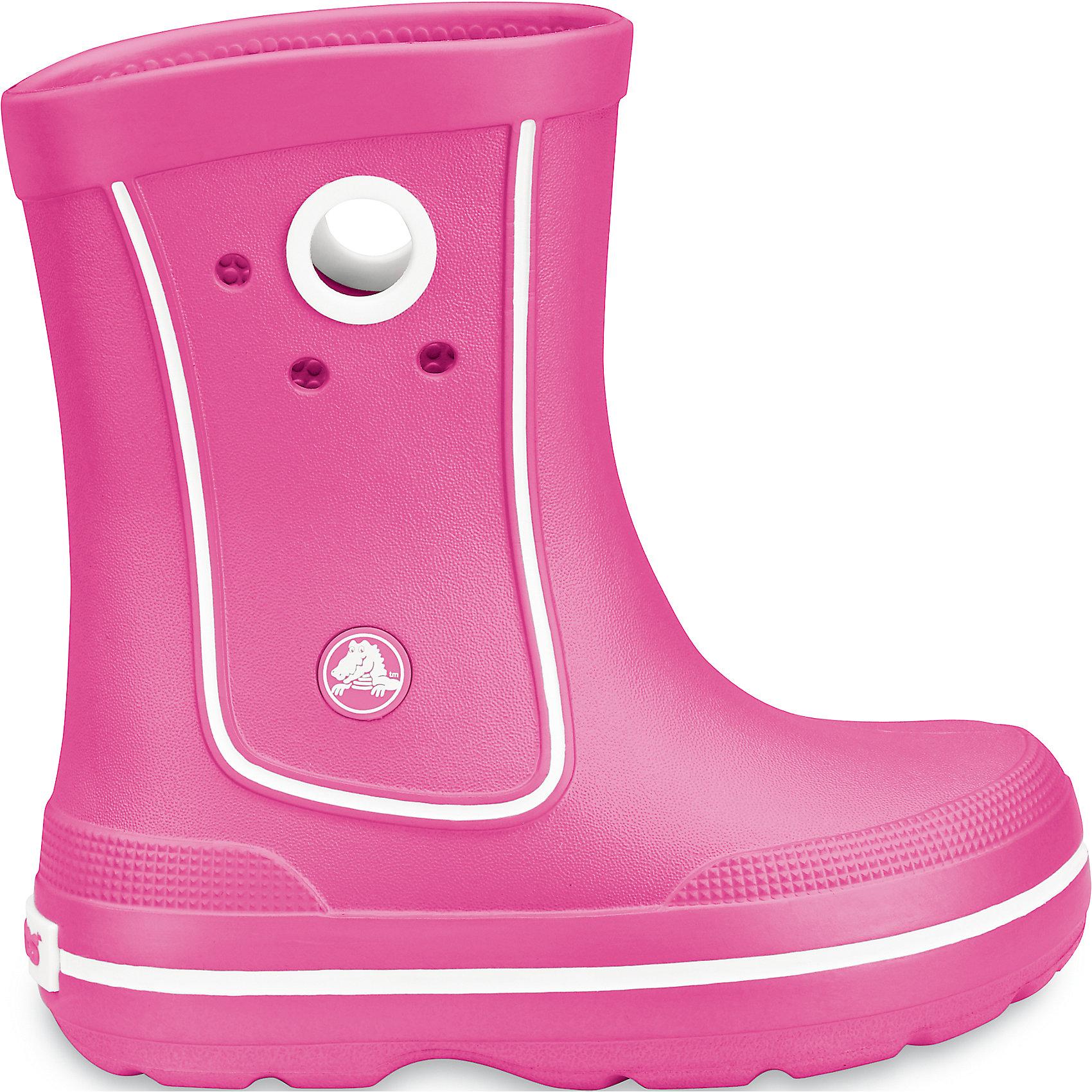 Резиновые сапоги Crocband™ Jaunt Kids CrocsХарактеристики товара:<br><br>• цвет: розовый<br>• материал: 100% полимер Croslite™<br>• непромокаемые<br>• температурный режим: от 0° до +20° С<br>• легко очищаются<br>• антискользящая подошва<br>• толстая устойчивая подошва<br>• страна бренда: США<br>• страна изготовитель: Китай<br><br>Сапоги могут быть и стильными, и непромокаемыми! Для детской обуви крайне важно, чтобы она была удобной. Такие сапоги обеспечивают детям необходимый комфорт, а надежный материал не пропускает внутрь воду. Сапоги легко надеваются и снимаются, отлично сидят на ноге. Материал, из которого они сделаны, не дает размножаться бактериям, поэтому такая обувь препятствует образованию неприятного запаха и появлению болезней стоп. Данная модель особенно понравится детям - ведь в них можно бегать по лужам!<br>Обувь от американского бренда Crocs в данный момент завоевала широкую популярность во всем мире, и это не удивительно - ведь она невероятно удобна. Её носят врачи, спортсмены, звёзды шоу-бизнеса, люди, которым много времени приходится бывать на ногах - они понимают, как важна комфортная обувь. Продукция Crocs - это качественные товары, созданные с применением новейших технологий. Обувь отличается стильным дизайном и продуманной конструкцией. Изделие производится из качественных и проверенных материалов, которые безопасны для детей.<br><br>Резиновые сапоги Crocband™ Jaunt Kids от торговой марки Crocs можно купить в нашем интернет-магазине.<br><br>Ширина мм: 262<br>Глубина мм: 176<br>Высота мм: 97<br>Вес г: 427<br>Цвет: фуксия<br>Возраст от месяцев: 120<br>Возраст до месяцев: 132<br>Пол: Женский<br>Возраст: Детский<br>Размер: 34/35,31/32,33/34,32/33,29/30,27/28,25/26,23/24,31/32<br>SKU: 3912095