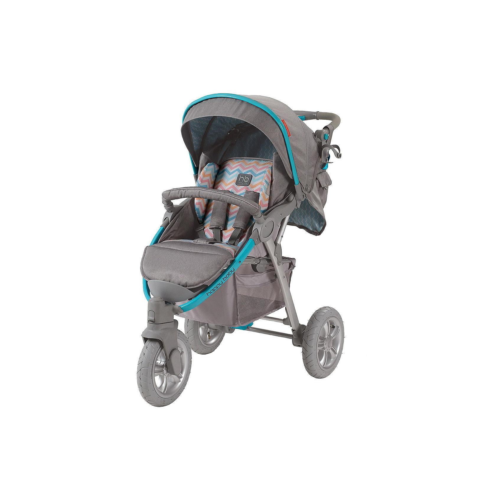 Прогулочная коляска Neon Sport, Happy Baby, серый/голубойСтильная всесезонная коляска Neon Sport отличается высокой проходимостью. Хорошая амортизация и маневренность позволит передвигаться, не нарушая сон ребёнка. Овальное сечение алюминиевой рамы обеспечивает  легкость и прочность. Матрасик из мягкой дышащей ткани, пятиточечные ремни безопасности с накладками и съемный бампер - гарантируют комфорт и безопасность ребёнку. Объёмный капюшон со смотровым окошком фиксируется в трёх положениях и опускается до бампера. Подставка для бутылочек на уровне рук взрослого облегчит процесс кормления. Переднее колесо поворотное с возможностью фиксации, что позволяет<br>маневрировать коляской практически на месте. Тормозное устройство приводится в действие одним движением. Регулируемая по высоте ручка, стильная сумка и вместительная корзина для покупок делают коляску не только удобной, но и практичной. Идеальный вариант для наших погодных условий и дорог.  <br><br>Дополнительная информация:<br><br>- Комплектность: коляска, дождевик, москитная сетка, сумка для мамы, чехол на ножки, корзина для покупок мамы, чехол на ножки, корзина для покупок<br>- Алюминиевая рама с поперечным сечением.<br>- Количество колес: 3 шт.<br>- Тип колес: надувные, переднее поворотное.<br>- Ножной тормоз.<br>- Механизм складывания: книжка.<br>- Регулируемая по высоте ручка.<br>- Регулируемая по высоте спинка ( 3 положения, включая горизонтальное)<br>- Пятиточечные ремни безопасности с мягкими накладками.<br>- Капюшон со смотровым окошком  опускается до бампера)<br>- Складывающийся козырек.<br>- Вместительная корзина для покупок.<br>- Подставка для кружки.<br>- Съёмный бампер перед ребенком.<br>- Цвет: серый, голубой.<br>- Длина спального места: 85 см.<br>- Размер коляски: 102 х 66 х 97 см.<br>- Размер сидения: 34 х 28/45 (с подножкой) см.<br>- Ширина колесной базы: 66 см.<br>- Диаметр колес: переднее - 26 см, задние - 30 см.<br>- Вес коляски: 13 кг<br><br>Прогулочную коляска Neon Sport, Happy Baby (Хэппи 