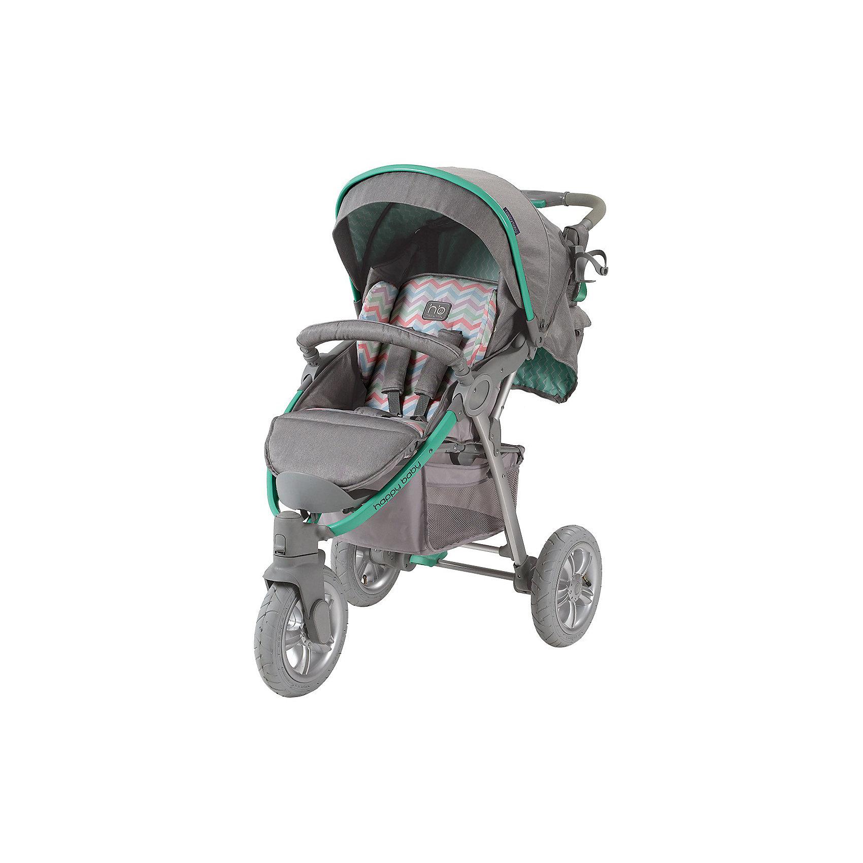 Прогулочная коляска Neon Sport, Happy Baby, серый/зеленыйСтильная всесезонная коляска Neon Sport отличается высокой проходимостью. Хорошая амортизация и маневренность позволит передвигаться, не нарушая сон ребёнка. Овальное сечение алюминиевой рамы обеспечивает  легкость и прочность. Матрасик из мягкой дышащей ткани, пятиточечные ремни безопасности с накладками и съемный бампер гарантируют комфорт и безопасность ребёнку. Объёмный капюшон со смотровым окошком фиксируется в трёх положениях и опускается до бампера. Подставка для бутылочек на уровне рук взрослого облегчит процесс кормления. Переднее колесо поворотное с возможностью фиксации, что позволяет<br>маневрировать коляской практически на месте. Тормозное устройство приводится в действие одним движением. Регулируемая по высоте ручка, стильная сумка и вместительная корзина для покупок делают коляску не только удобной, но и практичной. Идеальный вариант для наших погодных условий и дорог.  <br><br>Дополнительная информация:<br><br>- Комплектность: коляска, дождевик, корзина для покупок, сумка для мамы, чехол для ножек.<br>- Алюминиевая рама с поперечным сечением.<br>- Количество колес: 3 шт.<br>- Тип колес: надувные, переднее поворотное.<br>- Ножной тормоз.<br>- Механизм складывания: книжка.<br>- Регулируемая по высоте ручка.<br>- Регулируемая по высоте спинка ( 3 положения, включая горизонтальное)<br>- Пятиточечные ремни безопасности с мягкими накладками.<br>- Капюшон со смотровым окошком  опускается до бампера)<br>- Складывающийся козырек.<br>- Вместительная корзина для покупок.<br>- Подставка для кружки.<br>- Съёмный бампер перед ребенком.<br>- Цвет: серый, зеленый.<br>- Длина спального места: 85 см.<br>- Размер коляски: 102 х 66 х 97 см.<br>- Размер сидения: 34 х 28/45 (с подножкой) см.<br>- Ширина колесной базы: 66 см.<br>- Диаметр колес: переднее - 26 см, задние - 30 см.<br>- Вес: 13 кг<br><br>Прогулочную коляска Neon Sport, Happy Baby (Хэппи Беби),  серый/зеленый, можно купить в нашем магазине.<br><br>Ширина