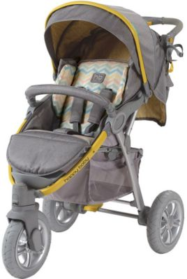 Прогулочная коляска Happy Baby Neon Sport, серый/жёлтый