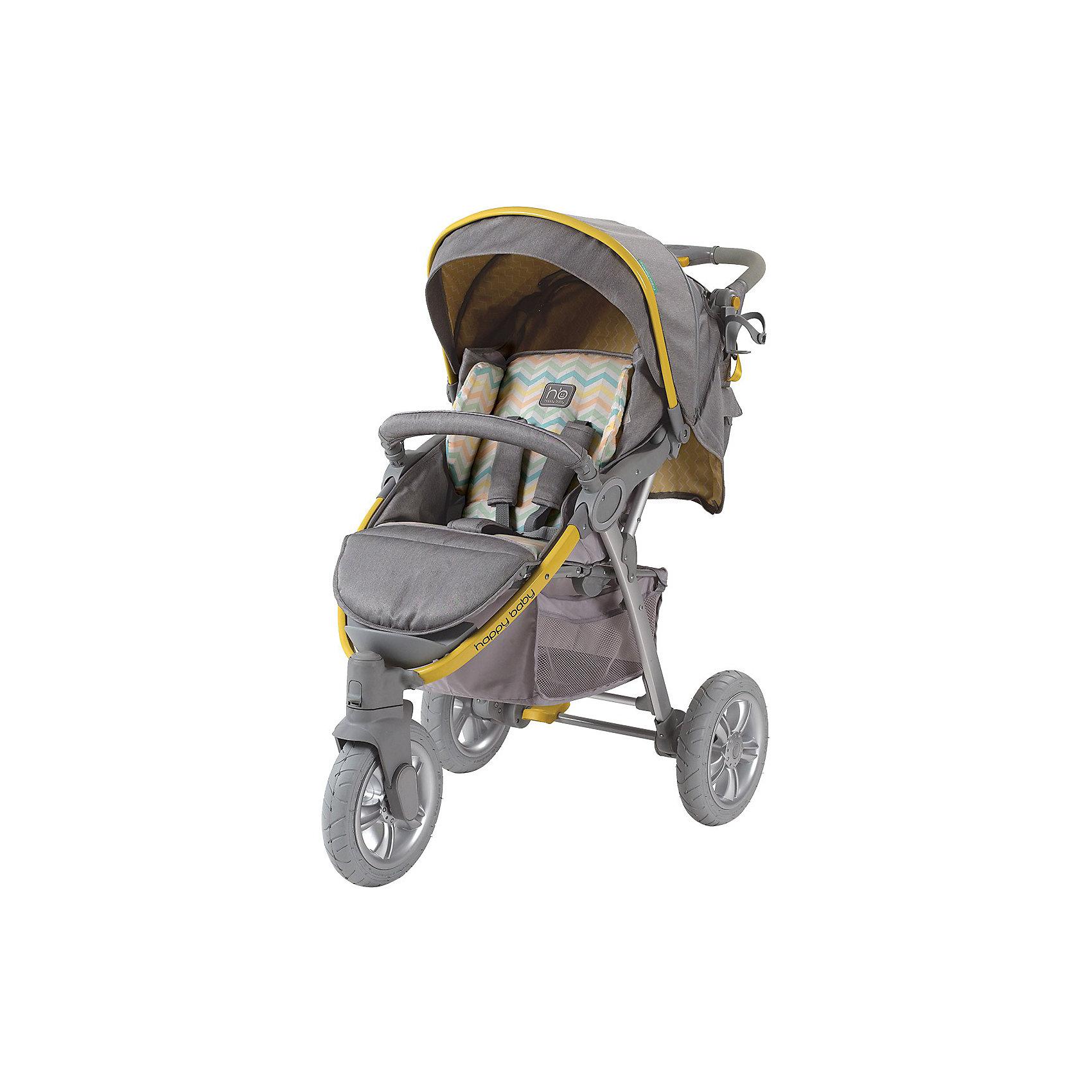 Прогулочная коляска Neon Sport, Happy Baby, серый/жёлтыйСтильная всесезонная коляска Neon Sport отличается высокой проходимостью. Хорошая амортизация и маневренность позволит передвигаться, не нарушая сон ребёнка. Овальное сечение алюминиевой рамы обеспечивает  легкость и прочность. Матрасик из мягкой дышащей ткани, пятиточечные ремни безопасности с накладками и съемный бампер гарантируют комфорт и безопасность ребёнку. Объёмный капюшон со смотровым окошком фиксируется в трёх положениях и опускается до бампера. Подставка для бутылочек на уровне рук взрослого облегчит процесс кормления. Переднее колесо поворотное с возможностью фиксации, что позволяет<br>маневрировать коляской практически на месте. Тормозное устройство приводится в действие одним движением. Регулируемая по высоте ручка, стильная сумка и вместительная корзина для покупок делают коляску не только удобной, но и практичной. Идеальный вариант для наших погодных условий и дорог.  <br><br>Дополнительная информация:<br><br>- Комплектность: коляска, дождевик, москитная сетка, сумка для мамы, чехол на ножки, корзина для покупок<br>- Алюминиевая рама с поперечным сечением.<br>- Количество колес: 3 шт.<br>- Тип колес: надувные, переднее поворотное.<br>- Ножной тормоз.<br>- Механизм складывания: книжка.<br>- Регулируемая по высоте ручка.<br>- Регулируемая по высоте спинка ( 3 положения, включая горизонтальное)<br>- Пятиточечные ремни безопасности с мягкими накладками.<br>- Капюшон со смотровым окошком  опускается до бампера)<br>- Складывающийся козырек.<br>- Вместительная корзина для покупок.<br>- Подставка для кружки.<br>- Съёмный бампер перед ребенком.<br>- Цвет: серый, желтый.<br>- Длина спального места: 85 см.<br>- Размер коляски: 102 х 66 х 97 см.<br>- Размер сидения: 34 х 28/45 (с подножкой) см.<br>- Диаметр колес: переднее - 26 см, задние - 30 см.<br>- Ширина колесной базы: 66 см.<br>- Вес коляски: 13 кг<br><br>Прогулочную коляска Neon Sport, Happy Baby (Хэппи Беби),  серый/желтый, можно купить в нашем маг