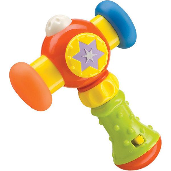 Музыкальный молоток MAGIC HAMMER, Happy BabyСтучалки<br>Прекрасная яркая развивающая игрушка обязательно понравится вашему малышу. Молоток имеет резиновые накладки, что обеспечивает безопасность вашего малыша. Удобная рельефная ручка создана специально для маленьких детских пальчиков. На ручке располагается кнопка включения и выключения звуковых эффектов. Каждый раз, когда кроха будет ударять по ровной поверхности, молоточек будет издавать забавные звуки. <br>Игрушка выполнена из высококачественных гипоаллергенных материалов безопасных для детей. <br><br>Дополнительная информация:<br><br>- Элемент питания: 2 батарейки АА (входят в комплект).<br>- Цвет: разноцветный.<br>- Материал: АБС-пластик, силикон.<br><br>Музыкальный молоток MAGIC HAMMER, Happy Baby (Хэппи Беби) можно купить в нашем магазине.<br><br>Ширина мм: 70<br>Глубина мм: 170<br>Высота мм: 190<br>Вес г: 187<br>Возраст от месяцев: 6<br>Возраст до месяцев: 36<br>Пол: Унисекс<br>Возраст: Детский<br>SKU: 3914659