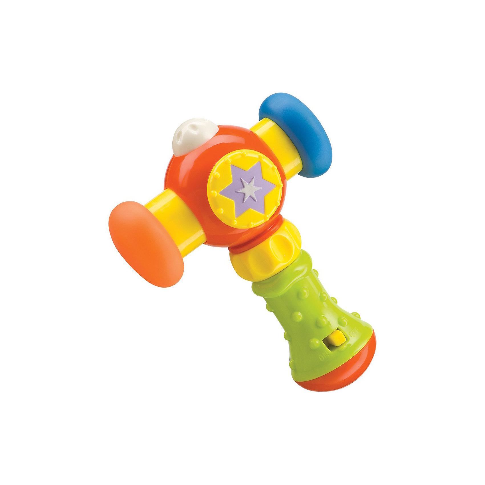 Музыкальный молоток MAGIC HAMMER, Happy BabyИнтерактивные игрушки для малышей<br>Прекрасная яркая развивающая игрушка обязательно понравится вашему малышу. Молоток имеет резиновые накладки, что обеспечивает безопасность вашего малыша. Удобная рельефная ручка создана специально для маленьких детских пальчиков. На ручке располагается кнопка включения и выключения звуковых эффектов. Каждый раз, когда кроха будет ударять по ровной поверхности, молоточек будет издавать забавные звуки. <br>Игрушка выполнена из высококачественных гипоаллергенных материалов безопасных для детей. <br><br>Дополнительная информация:<br><br>- Элемент питания: 2 батарейки АА (входят в комплект).<br>- Цвет: разноцветный.<br>- Материал: АБС-пластик, силикон.<br><br>Музыкальный молоток MAGIC HAMMER, Happy Baby (Хэппи Беби) можно купить в нашем магазине.<br><br>Ширина мм: 70<br>Глубина мм: 170<br>Высота мм: 190<br>Вес г: 187<br>Возраст от месяцев: 6<br>Возраст до месяцев: 36<br>Пол: Унисекс<br>Возраст: Детский<br>SKU: 3914659