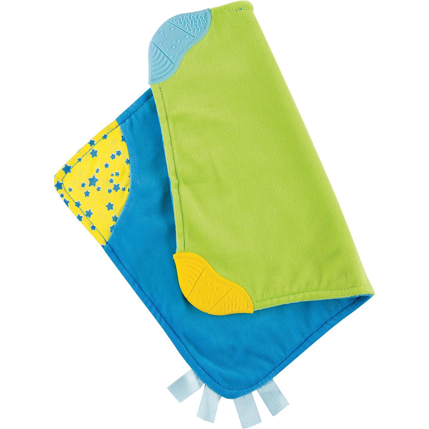 Платочек-прорезыватель,  Happy BabyПрорезыватели<br>Платочек-прорезыватель,  Happy Baby (Хэппи Беби) – это первая игрушка прорезыватель для вашего малыша.<br>Платочек-прорезыватель, Happy Baby (Хэппи Беби) из мягкой ткани поможет успокоить плачущего малыша. Два текстурированных участка для жевания, гибкие углы и яркие цветные сатиновые ленты сделают эту игрушку любимой для ребенка. Платочек массирует десны, проникает в труднодоступные места ротовой полости, усиливает слюноотделение и предотвращает кариес, развивает тактильные навыки и слуховое восприятие.<br><br>Дополнительная информация:<br><br>- Материал: полиэстер, этиленвинилацетат<br>- Размер: 35 х 25 см.<br>- Размер упаковки: 24 x 14,5 x 1 см.<br><br>Платочек-прорезыватель,  Happy Baby (Хэппи Беби) можно купить в нашем интернет-магазине.<br><br>Ширина мм: 240<br>Глубина мм: 10<br>Высота мм: 145<br>Вес г: 628<br>Возраст от месяцев: 1<br>Возраст до месяцев: 36<br>Пол: Унисекс<br>Возраст: Детский<br>SKU: 3918476