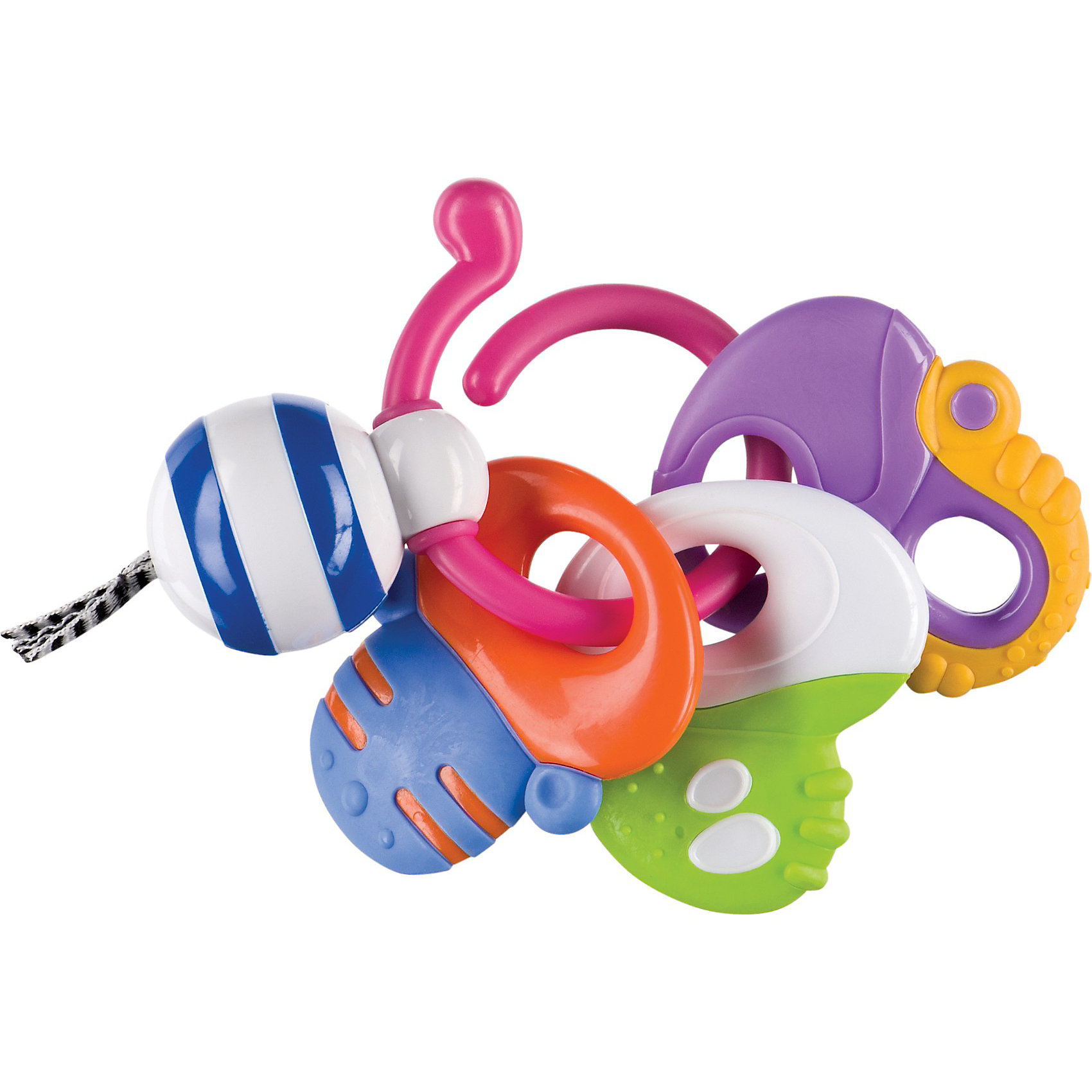 Погремушка-прорезыватель Веселые ключи,  Happy BabyИдеи подарков<br>Погремушка-прорезыватель Веселые ключи,  Happy Baby (Хэппи Беби) – яркая погремушка-прорезыватель с мягкой текстурированной поверхностью.<br>Развивающая игрушка-прорезыватель Happy Baby Веселые ключи выполнена из яркого безопасного пластика в виде незамкнутого кольца, к которому крепятся три ключика-прорезывателя. Каждый ключик имеет удобную форму и рельефную поверхность, которая эффективно массирует десны ребенка и уменьшает дискомфорт при появлении зубов. Малыш с удовольствием будет передвигать ключики из стороны в сторону. Также к кольцу крепится подвижный шарик с тремя короткими текстильными шнурочками. Погремушка-прорезыватель Веселые ключи поможет ребенку в развитии цветового и звукового восприятия, мелкой моторики рук и тактильных ощущений.<br><br>Дополнительная информация:<br><br>- Размер: 14 х 5,5 х 13 см.<br>- Размер упаковки: 20,5 x 14,5 x 5,5 см.<br><br>Погремушку-прорезыватель Веселые ключи,  Happy Baby (Хэппи Беби) можно купить в нашем интернет-магазине.<br><br>Ширина мм: 205<br>Глубина мм: 20<br>Высота мм: 145<br>Вес г: 112<br>Возраст от месяцев: 3<br>Возраст до месяцев: 36<br>Пол: Унисекс<br>Возраст: Детский<br>SKU: 3918477