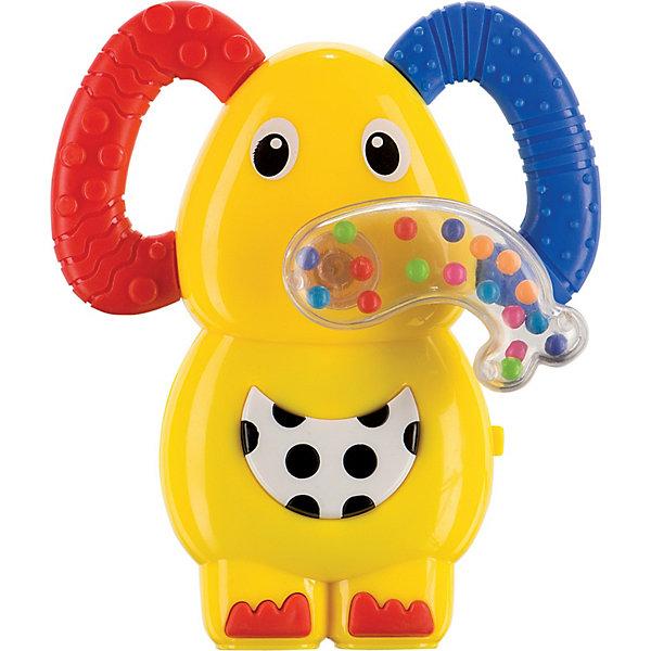 Музыкальная погремушка прорезыватель Слоненок,  Happy BabyИгрушки для новорожденных<br>Музыкальная погремушка прорезыватель Happy Baby Слоненок выполнена из высококачественного пластика ярких цветов в виде забавного слоненка, ушки которого являются прорезывателями. Хобот игрушки заполнен маленькими разноцветными шариками, создающими эффект погремушки, а также хобот можно крутить по кругу под звуки трещотки. При нажатии на большую кнопку на животике слоненка раздаются забавные звуки и веселые мелодии. Игрушка приятна на ощупь и не имеет острых углов. Погремушка прорезыватель Happy Baby Слоненок подарит положительные эмоции вашему малышу и поможет ему в развитии мелкой моторики, звуко- и цветовосприятия и внимания.<br><br>Дополнительная информация:<br><br>- Материал: пластик<br>- Батарейки: 3 шт. типа LR44/AG13 (в комплекте демонстрационные)<br>- Не содержат бисфенол А<br>- Размер игрушки: 12 х 10 х 4 см.<br>- Размер упаковки: 18,5 х 13 х 5 см.<br><br>Музыкальную погремушку прорезыватель Слоненок,  Happy Baby (Хэппи Беби) можно купить в нашем интернет-магазине.<br><br>Ширина мм: 185<br>Глубина мм: 50<br>Высота мм: 130<br>Вес г: 103<br>Возраст от месяцев: 3<br>Возраст до месяцев: 36<br>Пол: Унисекс<br>Возраст: Детский<br>SKU: 3918478
