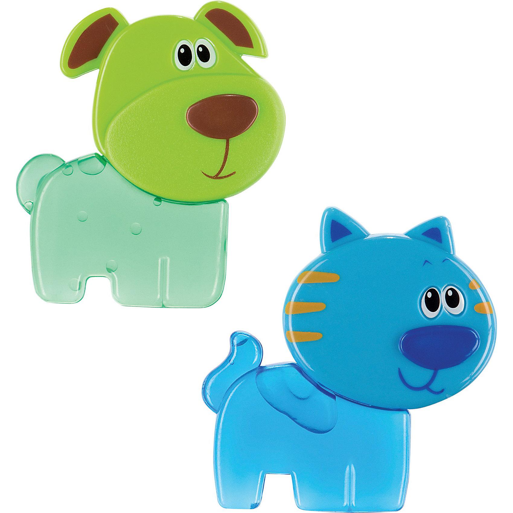 Игрушка- прорезыватель с гелем ,  Happy BabyПогремушки<br>Игрушка- прорезыватель с гелем ,  Happy Baby (Хэппи Беби) – игрушки в виде кошечки и собачки с гелем смягчают боль, уменьшают зуд в деснах.<br>Игрушка-прорезыватель с гелем рекомендуется для детей, у которых начинают появляться зубы. Набор включает два прорезывателя, выполненных из безопасного и нетоксичного материала в виде синего котика и зеленой собачки. Они наполнены удерживающим холод гелем. Благодаря охлаждающему эффекту прорезыватели нежно массируют десны малыша, облегчая прорезывание зубов, а также усиливают слюноотделение и предотвращают кариес. Прорезыватели имеют удобную для детских рук форму, стимулируют зрительное восприятие и концентрацию внимания малыша. Игрушка-прорезыватель выполнена таким образом, чтобы малышу было удобно брать её в ручки и держать во рту.<br><br>Дополнительная информация:<br><br>- В наборе: собачка, кошечка<br>- Средний размер прорезывателей: 8 х 7 см.<br>- Материал: пластик<br>- Чтобы охладить игрушки, положите их на некоторое время в холодильник.<br>- Размер упаковки: 20,5 х 14,5 х 1,5 см.<br><br>Игрушку- прорезыватель с гелем ,  Happy Baby (Хэппи Беби) можно купить в нашем интернет-магазине.<br><br>Ширина мм: 210<br>Глубина мм: 20<br>Высота мм: 145<br>Вес г: 80<br>Возраст от месяцев: 3<br>Возраст до месяцев: 36<br>Пол: Унисекс<br>Возраст: Детский<br>SKU: 3918482