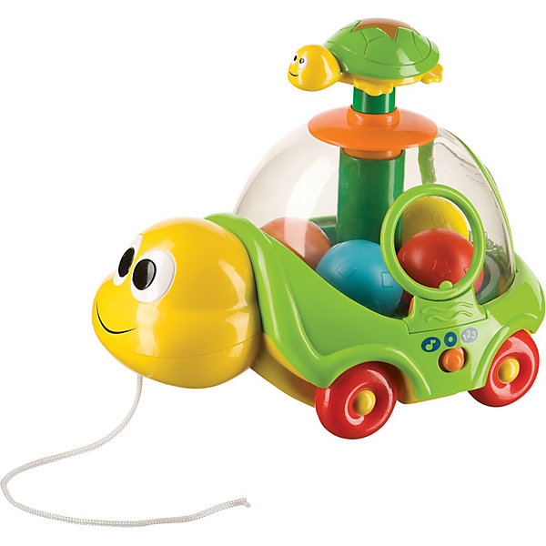 Музыкальная каталка-юла ,  Happy BabyИгрушки каталки<br>Музыкальная каталка-юла ,  Happy Baby (Хэппи Беби) – это музыкальная каталка-юла-сортер, красочная развивающая игрушка для малышей.<br>Музыкальная каталка-юла в виде черепашки имеет удобный шнурок и колесики, и поможет малышу освоить навыки ходьбы. Разноцветные шарики можно поместить по очереди внутрь прозрачного панциря и без проблем достать через специальное круглое отверстие. При нажатии на забавную кнопку в виде маленькой черепашки каталка будет выполнять функцию юлы, раскручивая находящиеся внутри шарики. На корпусе каталки расположены кнопки для включения и смены обучающих режимов: счет от 1 до 5 и мелодии. Игрушка изготовлена из прочного безопасного пластика ярких цветов. Игра с каталкой побуждает малыша к освоению навыков ходьбы, способствует развитию тактильного и слухового восприятия, крупной моторики, знакомит с первичными навыками счета от 1 до 5.<br><br>Дополнительная информация:<br><br>- Работает от батареек: 2 х АА 1,5 В (входят в комплект)<br>- Материал: пластик<br>- Размер: 23 х 20 х 16 см.<br><br>Музыкальную каталку-юлу ,  Happy Baby (Хэппи Беби) можно купить в нашем интернет-магазине.<br><br>Ширина мм: 255<br>Глубина мм: 190<br>Высота мм: 215<br>Вес г: 810<br>Возраст от месяцев: 12<br>Возраст до месяцев: 36<br>Пол: Унисекс<br>Возраст: Детский<br>SKU: 3918483