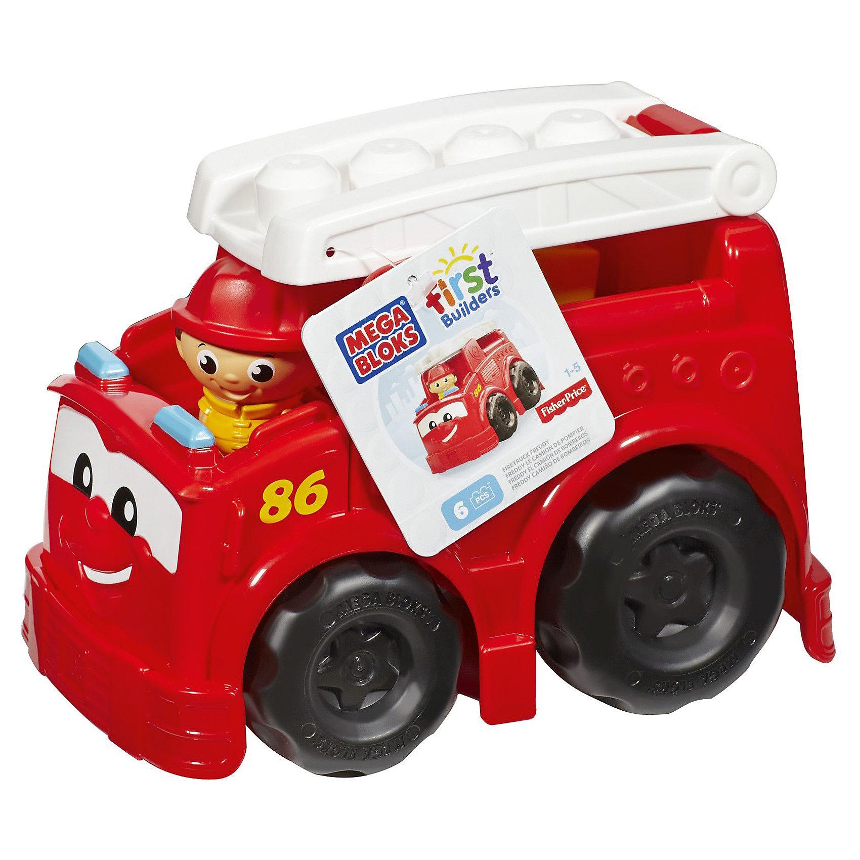 Пожарная машина Фредди First Builders, MEGA BLOKSПожарная машина Фредди First Builders Mega Bloks создана для храбрых пожарников, готовых прийти на помощь в любую минуту. Крупные колеса машины крутятся, чтобы отвезти маленького пожарника. Фигурку можно посадить на лестницу, находящуюся на крыше. Спереди у машины есть глазки и милая улыбка. Для создания сюжетно-ролевой игры, в комплекте есть 6 фрагментов конструктора. Все детали изготовлены из качественных материалов и абсолютно безопасны. Позвольте малышу почувствовать себя настоящим пожарником!<br><br>Дополнительная информация: <br>Материал: пластик<br>В комплекте: пожарная машина, лестница, фигурка пожарного, 6 деталей конструктора<br>Размер упаковки: 24x18x17 см<br><br>Пожарную машину Фредди First Builders Mega Bloks можно приобрести в нашем интернет-магазине.<br><br>Ширина мм: 258<br>Глубина мм: 175<br>Высота мм: 177<br>Вес г: 537<br>Возраст от месяцев: 12<br>Возраст до месяцев: 48<br>Пол: Унисекс<br>Возраст: Детский<br>SKU: 3920909