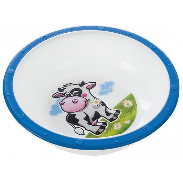 Тарелка Коровка, 270 мл., Canpol Babies, синийДетские тарелки<br>Тарелка Canpol Babies с яркими забавными рисунками станет любимой посудой Вашего ребенка. Тарелка имеет удобную эргономичную форму и безопасные закругленные края. Антискользящее дно с присоской защищает тарелку от скольжения и опрокидывания. <br>Яркая привлекательная посуда с симпатичными персонажами поможет ребенку быстрее освоить навыки самостоятельного питания. Тарелку можно использовать в микроволновой печи и посудомоечной машине.<br>Дополнительная информация:<br>- Материал: пластик.<br>- Объем: 270 мл.<br>- Размер упаковки: 16 х 16 х 5,5 см.<br>- Вес: 73 гр.<br>Тарелку Canpol Babies можно купить в нашем интернет-магазине.<br><br>Ширина мм: 55<br>Глубина мм: 55<br>Высота мм: 160<br>Вес г: 73<br>Возраст от месяцев: 9<br>Возраст до месяцев: 36<br>Пол: Унисекс<br>Возраст: Детский<br>SKU: 3921599