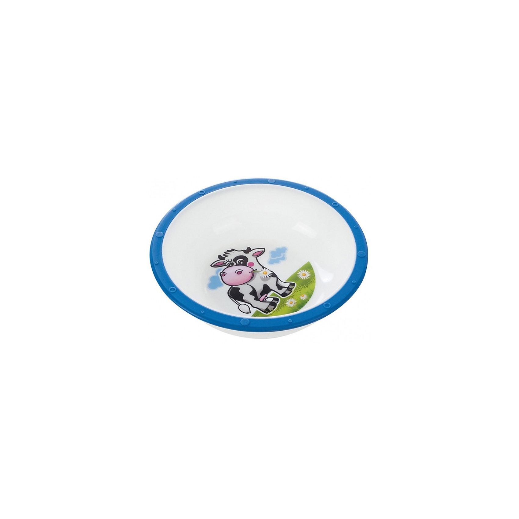 Тарелка Коровка, 270 мл., Canpol Babies, синийТарелка Canpol Babies с яркими забавными рисунками станет любимой посудой Вашего ребенка. Тарелка имеет удобную эргономичную форму и безопасные закругленные края. Антискользящее дно с присоской защищает тарелку от скольжения и опрокидывания. <br>Яркая привлекательная посуда с симпатичными персонажами поможет ребенку быстрее освоить навыки самостоятельного питания. Тарелку можно использовать в микроволновой печи и посудомоечной машине.<br>Дополнительная информация:<br>- Материал: пластик.<br>- Объем: 270 мл.<br>- Размер упаковки: 16 х 16 х 5,5 см.<br>- Вес: 73 гр.<br>Тарелку Canpol Babies можно купить в нашем интернет-магазине.<br><br>Ширина мм: 55<br>Глубина мм: 55<br>Высота мм: 160<br>Вес г: 73<br>Возраст от месяцев: 9<br>Возраст до месяцев: 36<br>Пол: Унисекс<br>Возраст: Детский<br>SKU: 3921599