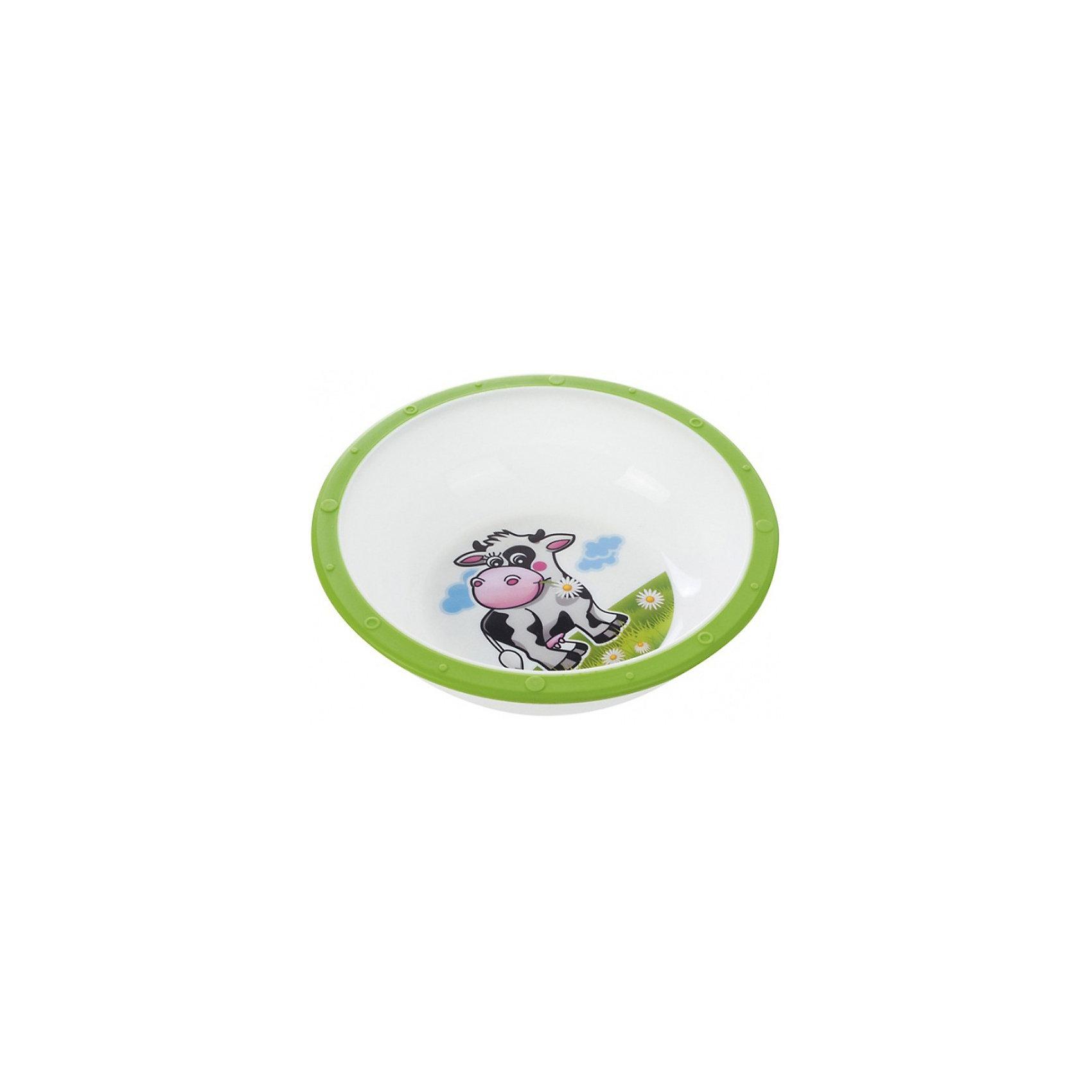 Тарелка Коровка, 270 мл., Canpol Babies, зелёныйТарелка Canpol Babies с яркими забавными рисунками станет любимой посудой Вашего ребенка. Тарелка имеет удобную эргономичную форму и безопасные закругленные края. Антискользящее дно с присоской защищает тарелку от скольжения и опрокидывания. <br>Яркая привлекательная посуда с симпатичными персонажами поможет ребенку быстрее освоить навыки самостоятельного питания. Тарелку можно использовать в микроволновой печи и посудомоечной машине.<br>Дополнительная информация:<br>- Материал: пластик.<br>- Объем: 270 мл.<br>- Размер упаковки: 16 х 16 х 5,5 см.<br>- Вес: 73 гр.<br>Тарелку Canpol Babies можно купить в нашем интернет-магазине.<br><br>Ширина мм: 55<br>Глубина мм: 55<br>Высота мм: 160<br>Вес г: 73<br>Возраст от месяцев: 9<br>Возраст до месяцев: 36<br>Пол: Унисекс<br>Возраст: Детский<br>SKU: 3921601