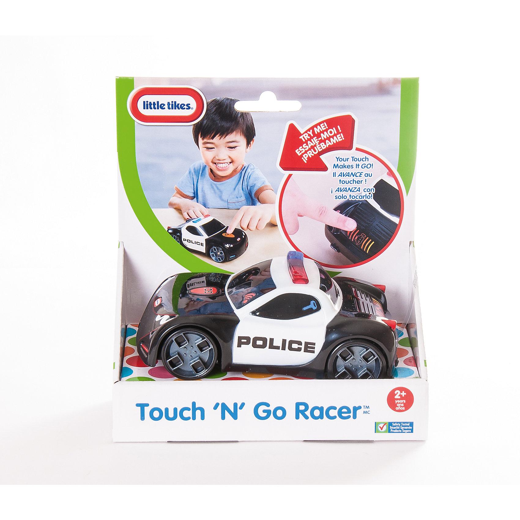 Гоночная машина Touch n Go Полиция,  Little TikesПолицейская машинка Touch n Go – необычная игрушка с сенсорным управлением. Чтобы машинка поехала, ее нужно завести, коснувшись изображения ключика. Затем надо прикоснуться к кнопке на капоте – машинка с ревом сорвется с места! Скорость движения можно регулировать прикосновением к задней панельке.<br>Кроме того, машинка Little Tikes воспроизводит звуковые эффекты – сигнал клаксона, звуки работающего двигателя, полицейской сирены, ускорения и др. Активировать эффекты очень просто – нужно прикоснуться к определенной части машинки.<br>Машинка с сенсорным управлением<br>Скорость движения можно регулировать прикосновением<br>Звуковые эффекты активируются при нажатии на разные части машинки<br>Для работы необходимо 3 АА батарейки<br><br>Ширина мм: 185<br>Глубина мм: 205<br>Высота мм: 105<br>Вес г: 468<br>Возраст от месяцев: 12<br>Возраст до месяцев: 48<br>Пол: Мужской<br>Возраст: Детский<br>SKU: 3924164